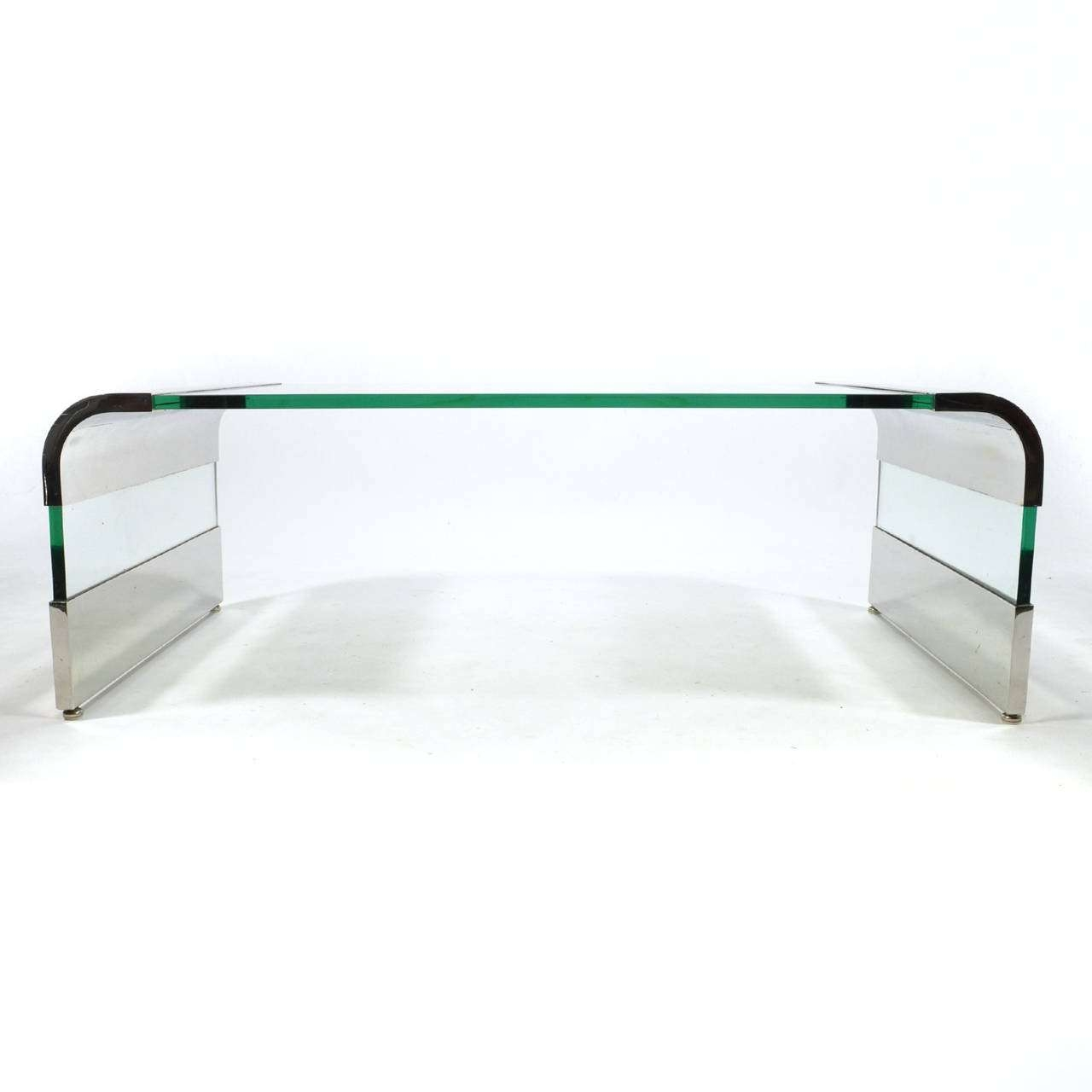 2017 Chrome Glass Coffee Tables Regarding Leon Rosen Chrome And Glass Waterfall Coffee Tablepace For (View 2 of 20)