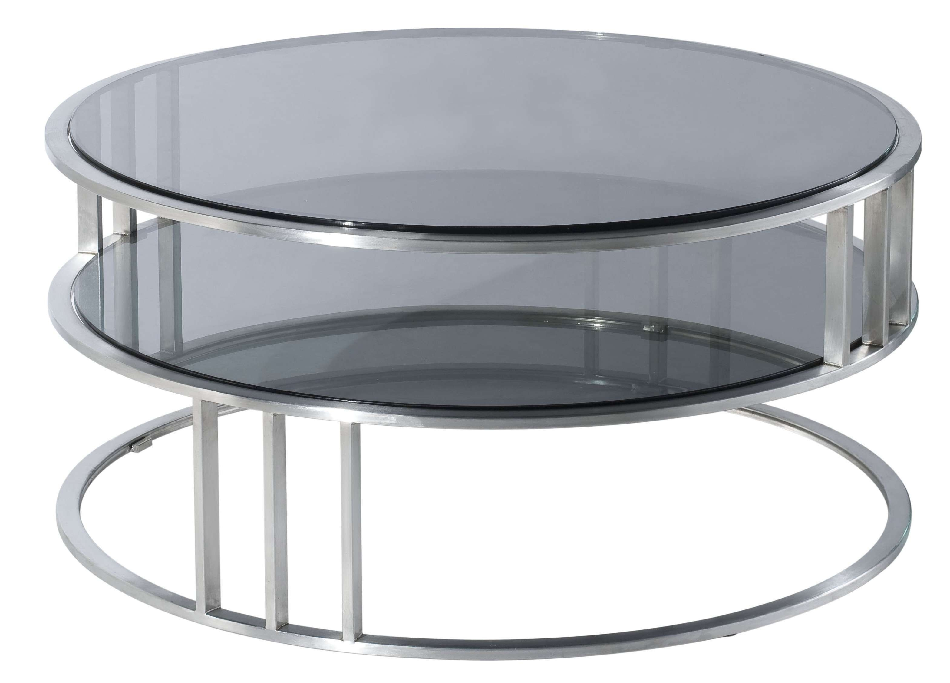 2017 Circular Coffee Tables With Storage Pertaining To Contemporary Modern Round Coffee Table With Round Glass Top And (View 1 of 20)