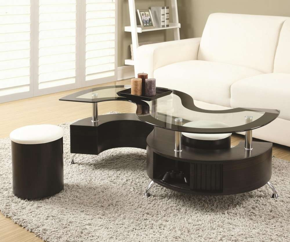 2017 Coffee Table With Stools Within Serpentine Coffee Table With Stools (View 3 of 20)