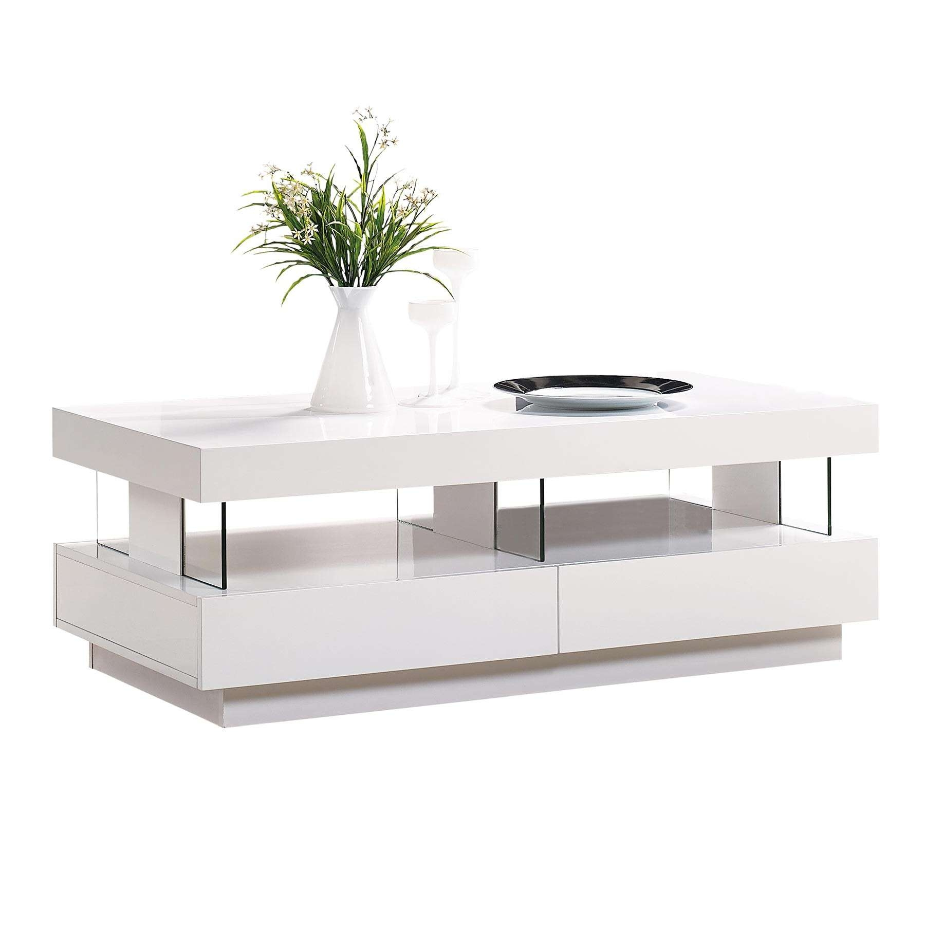 2017 Coffee Tables White High Gloss With White Gloss Coffee Table Led Light (View 4 of 20)