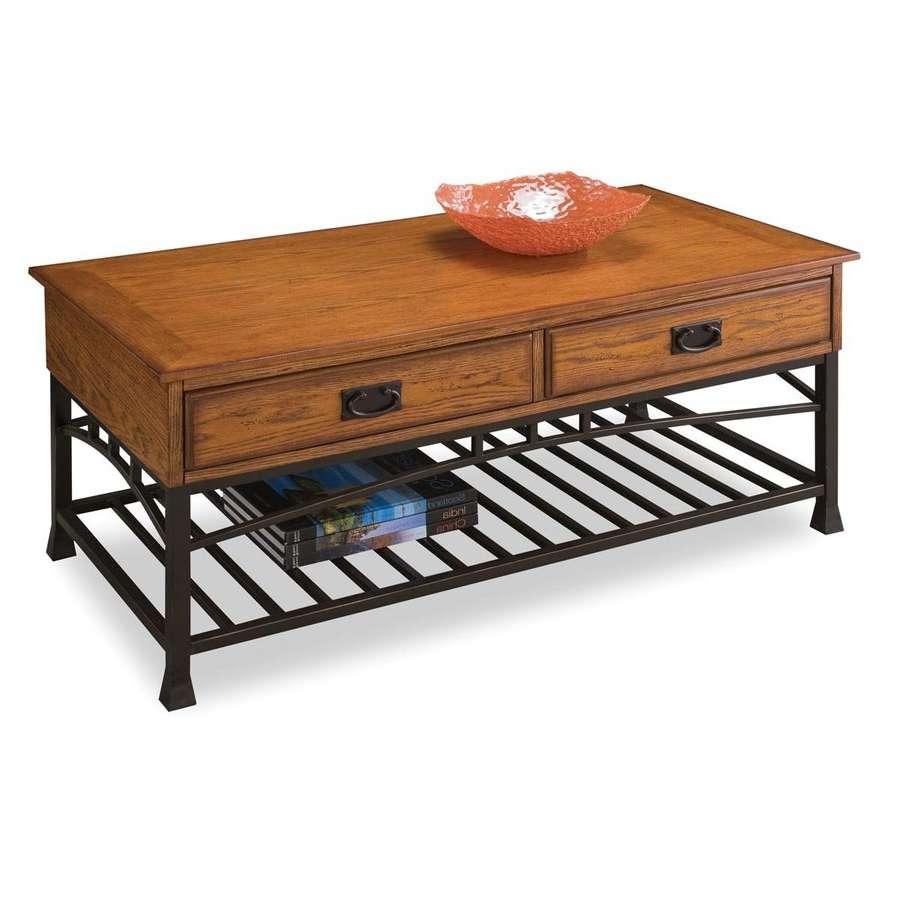 2017 Contemporary Oak Coffee Table Inside Shop Home Styles Modern Craftsman Distressed Oak Poplar Coffee (View 20 of 20)