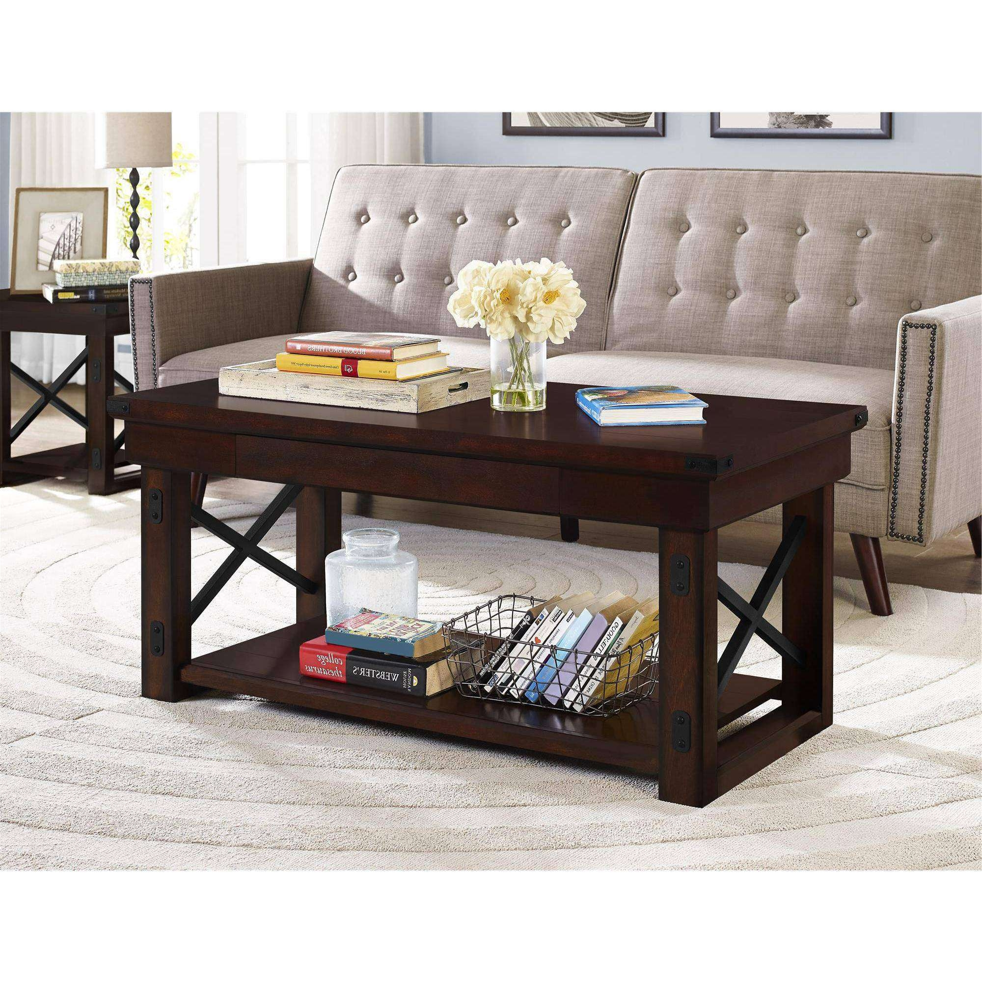 2017 Dark Oak Coffee Tables Inside Better Homes And Gardens Preston Park Coffee Table, Mahogany (View 1 of 20)