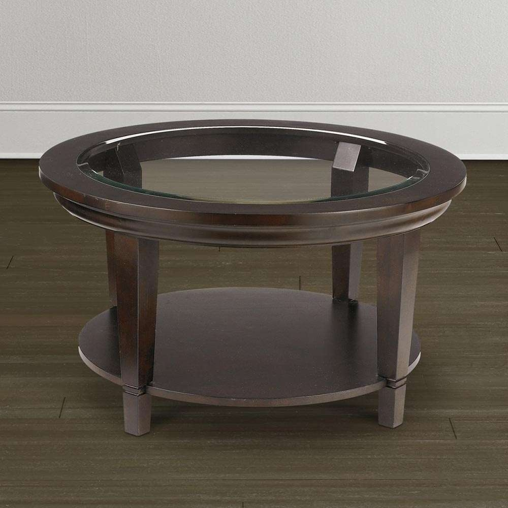 2017 Dark Wood Coffee Tables With Glass Top Intended For Collection Round Wood Coffee Table With Glass Top – Round Wicker (View 2 of 23)