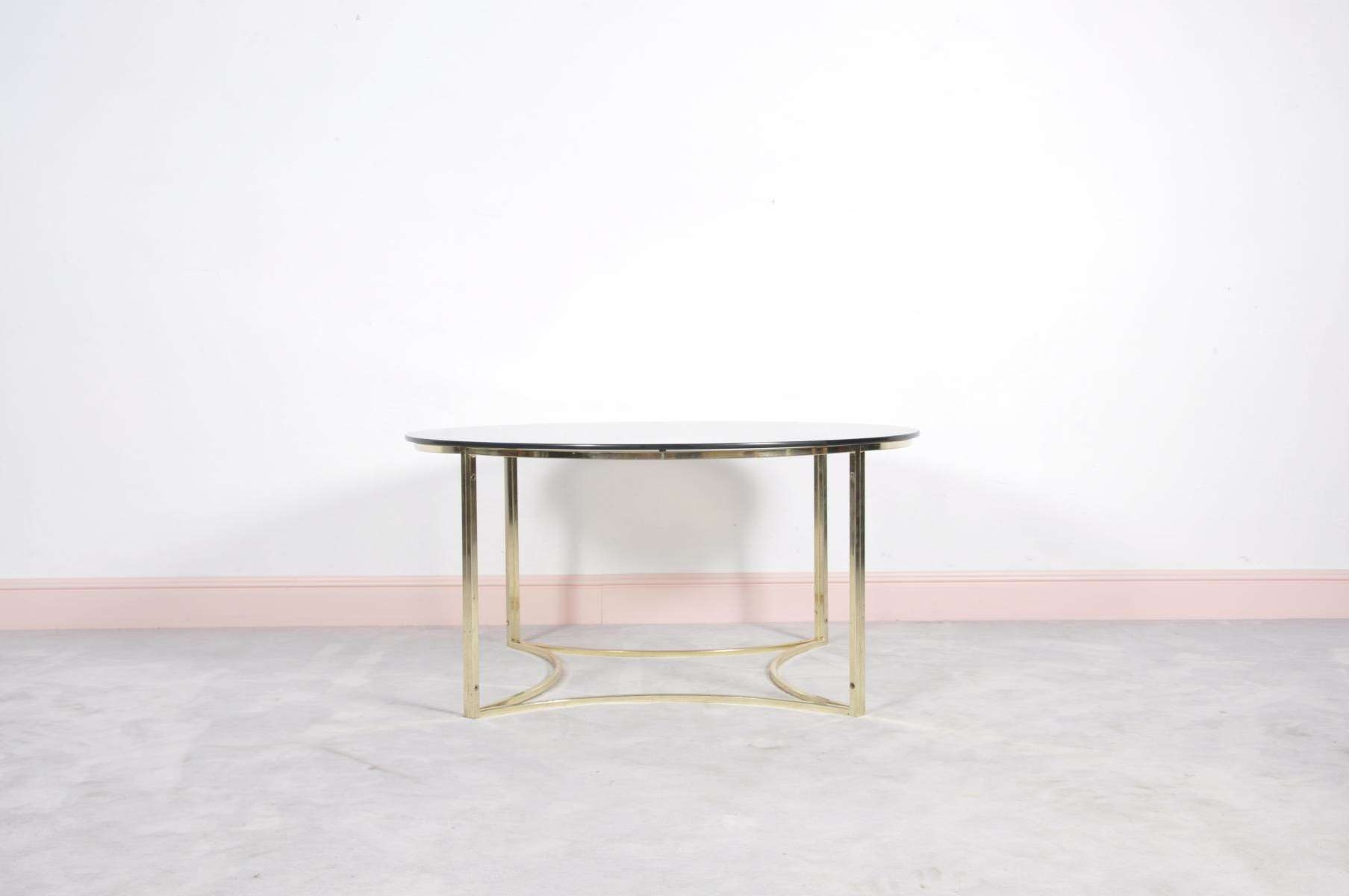 2017 Glass Coffee Tables Pertaining To Mid Century Brass & Glass Coffee Table For Sale At Pamono (View 1 of 20)