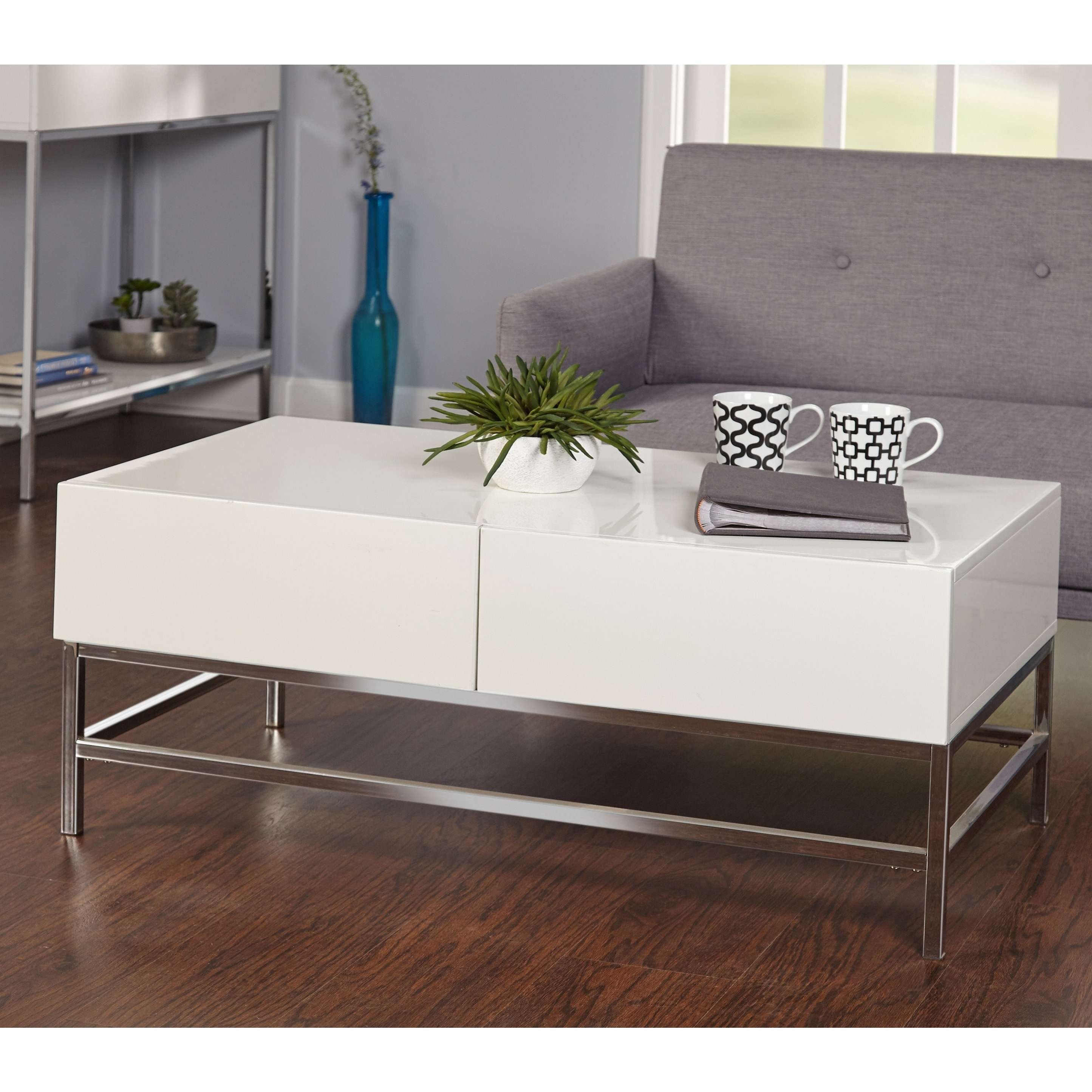 2017 Gloss Coffee Tables Pertaining To Simple Living White Metal High Gloss Coffee Table – Free Shipping (View 1 of 20)