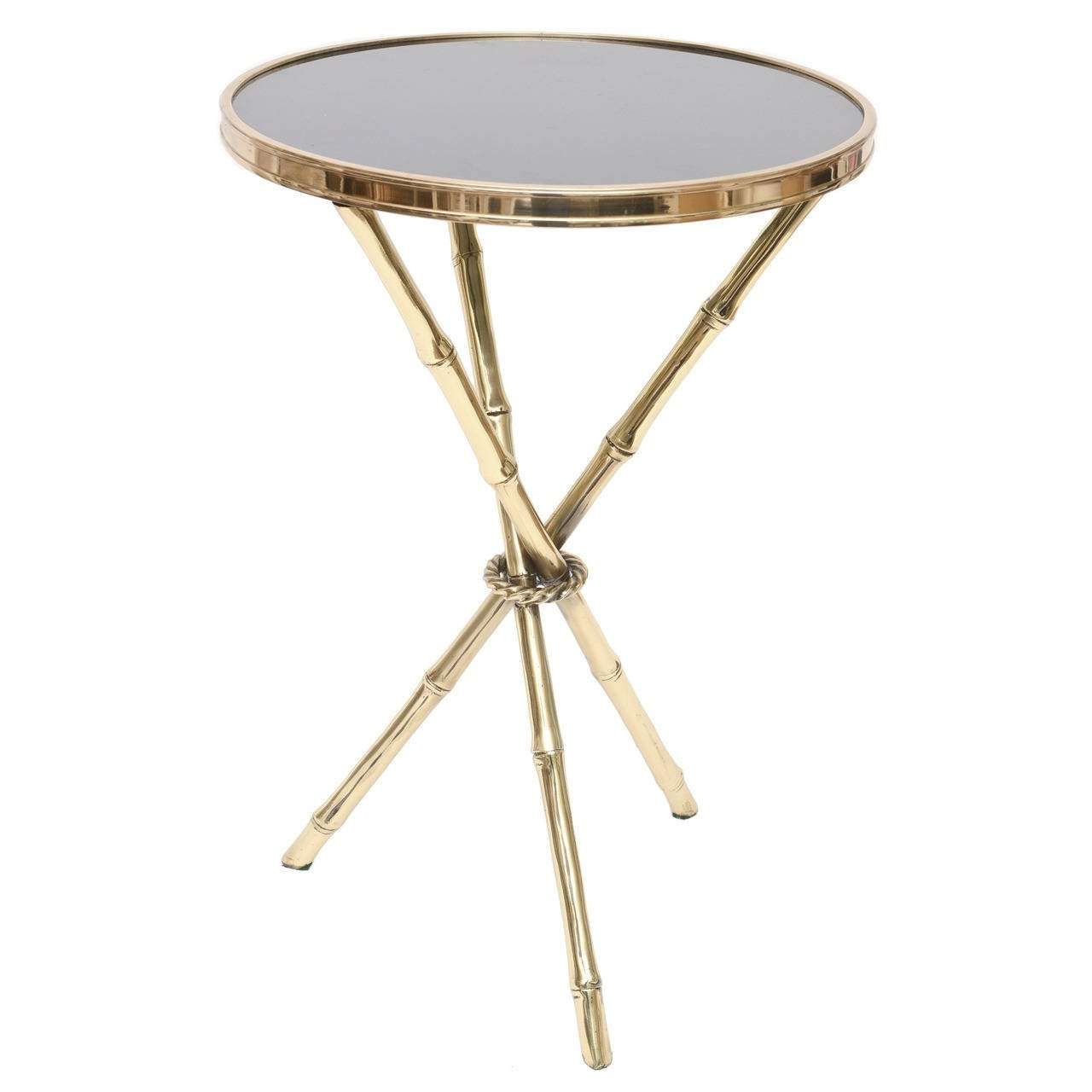 2017 Gold Bamboo Coffee Tables Pertaining To Chic Italian Polished Brass And Granite Faux Bamboo Tripod Side (View 1 of 20)