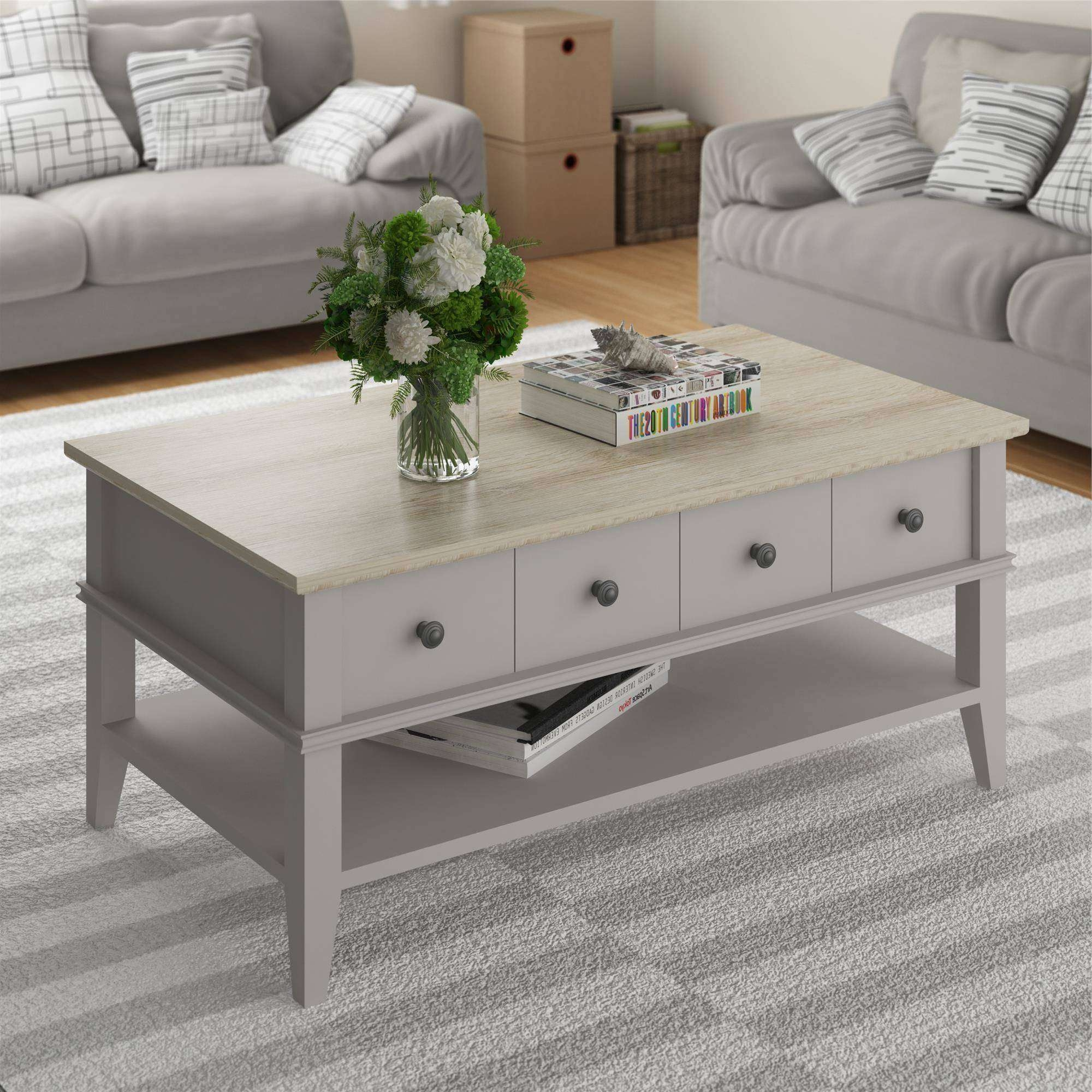 2017 Grey Coffee Tables Pertaining To Ameriwood Home Newport Coffee Table, Light Gray/light Brown (View 1 of 20)