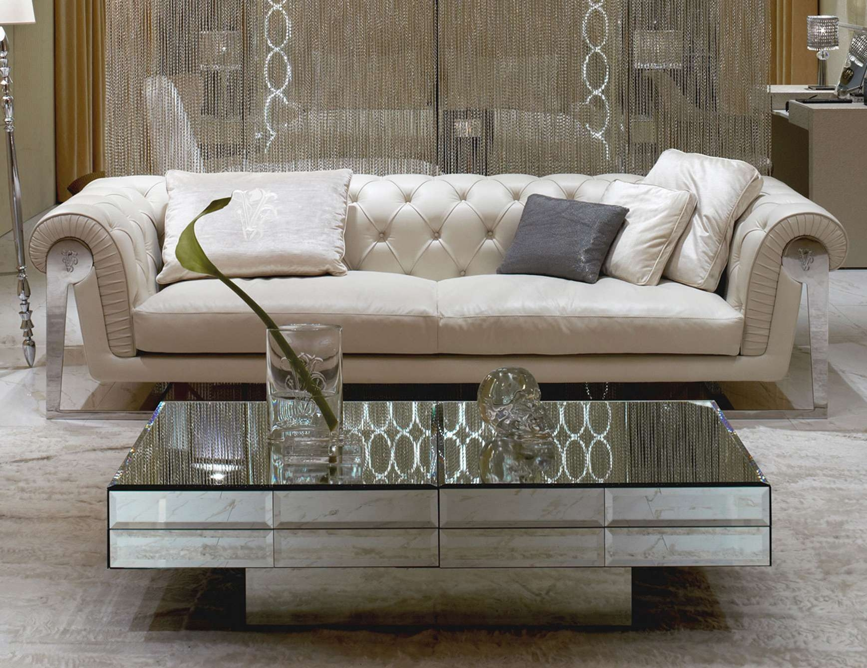 2017 Low Rectangular Coffee Tables With Furniture: Fancy Gray Fabric Modern Living Set With Rectangular (View 2 of 20)