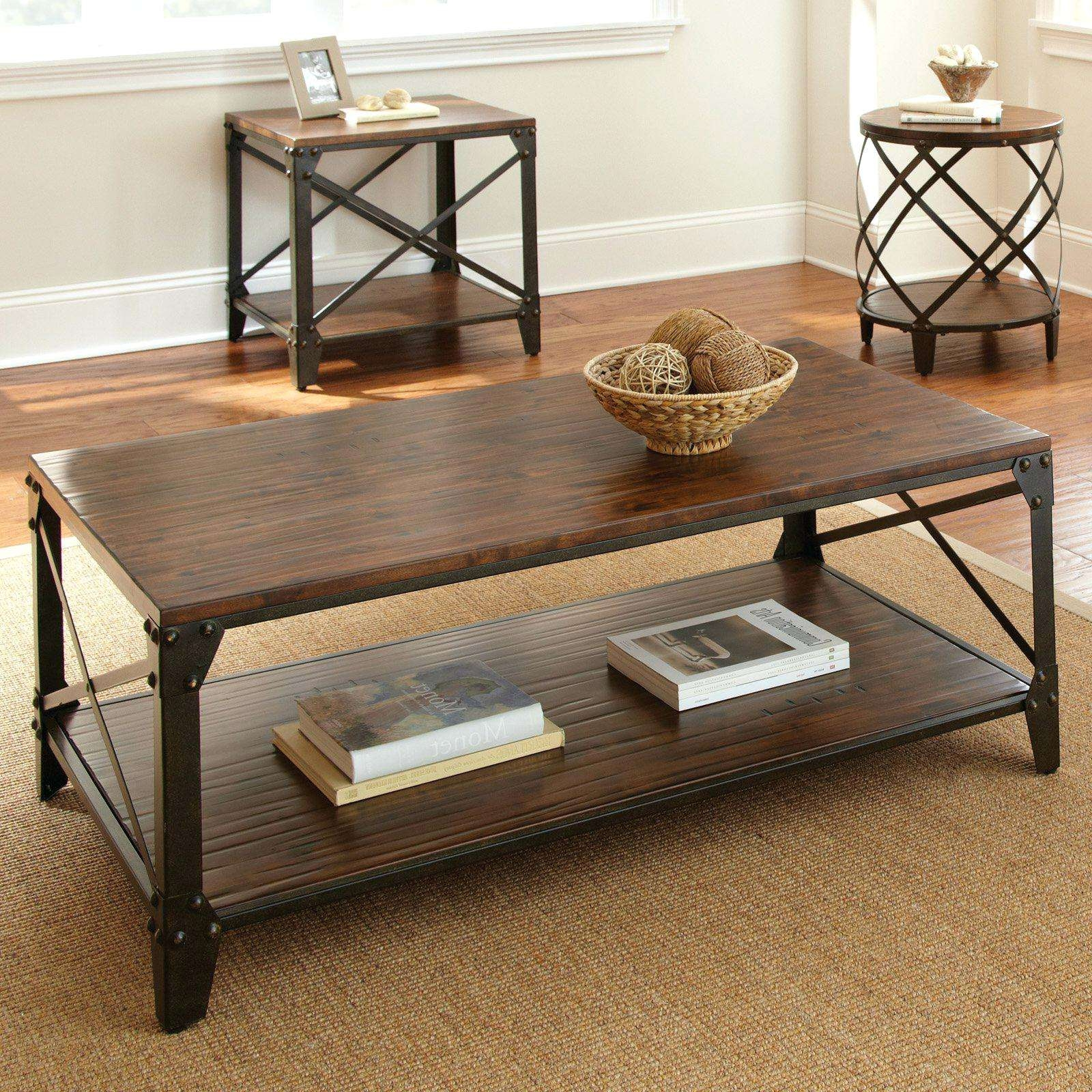 2017 Metal And Wood Coffee Tables Throughout Coffee Tables : Dark Brown Coffee Table Set Striking Images (View 1 of 20)