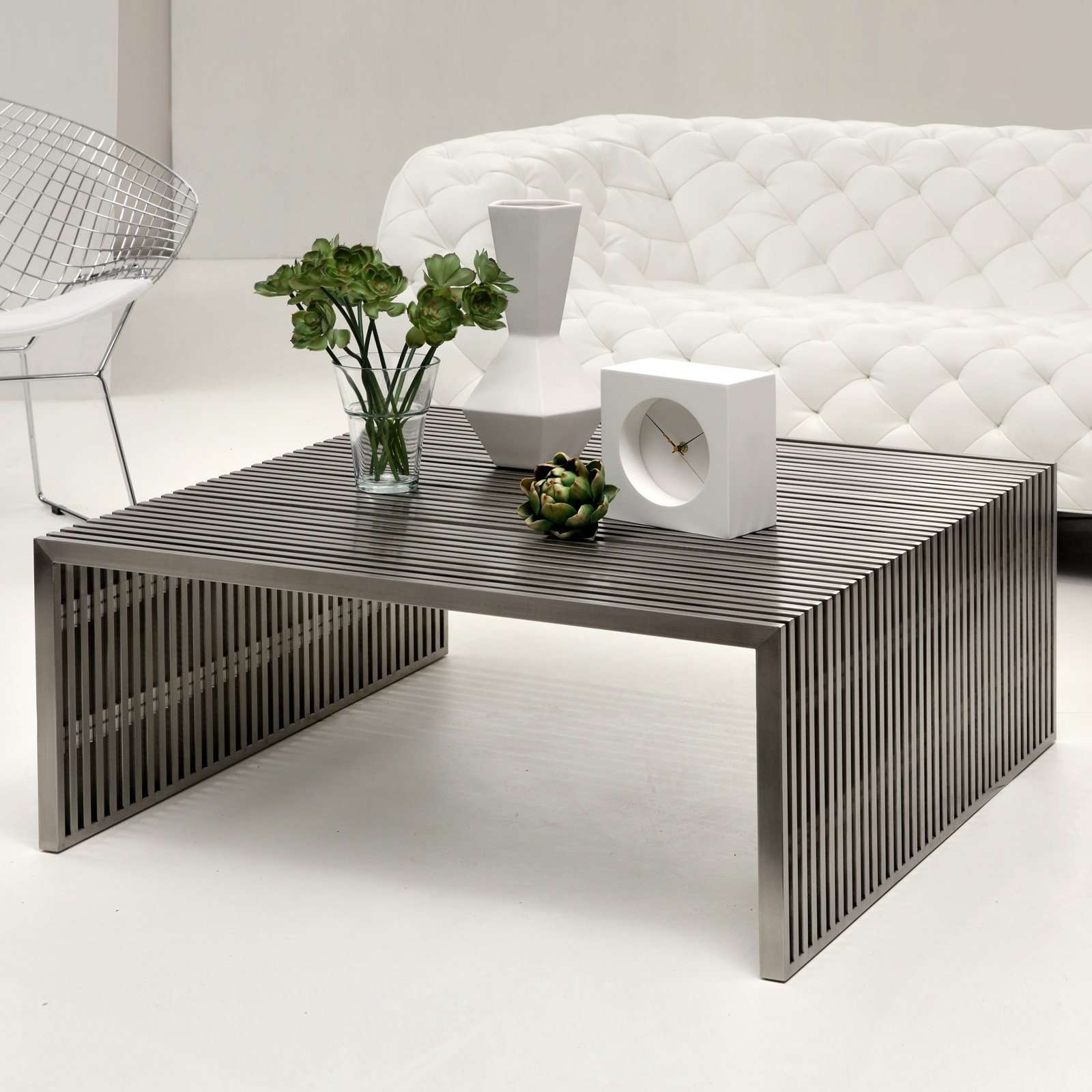 2017 Modern Coffee Tables With Storage Throughout Coffee Table : Modern Metal Coffee Table (View 2 of 20)