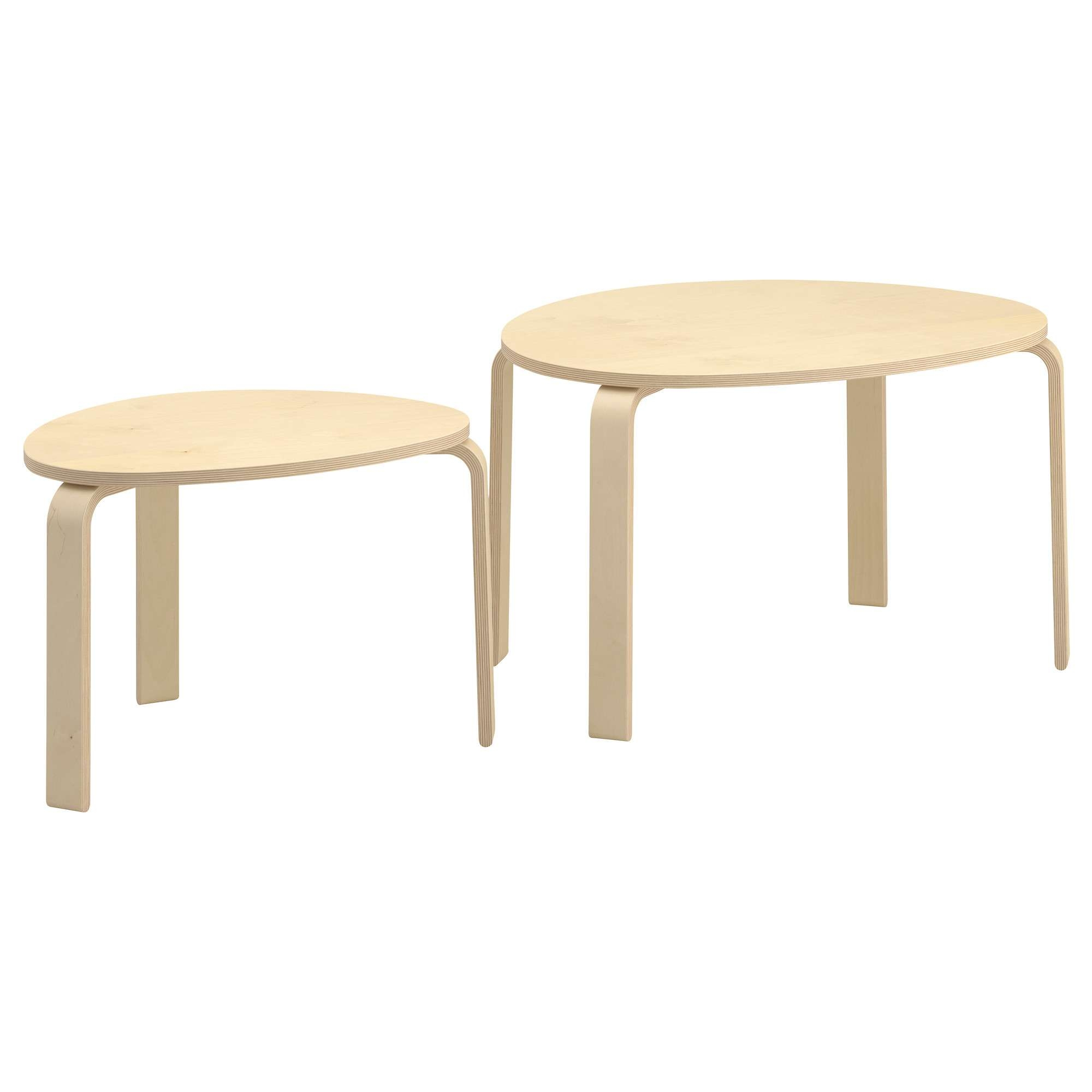 2017 Nest Coffee Tables For Svalsta Nesting Tables, Set Of 2 – Birch Veneer – Ikea (View 1 of 20)