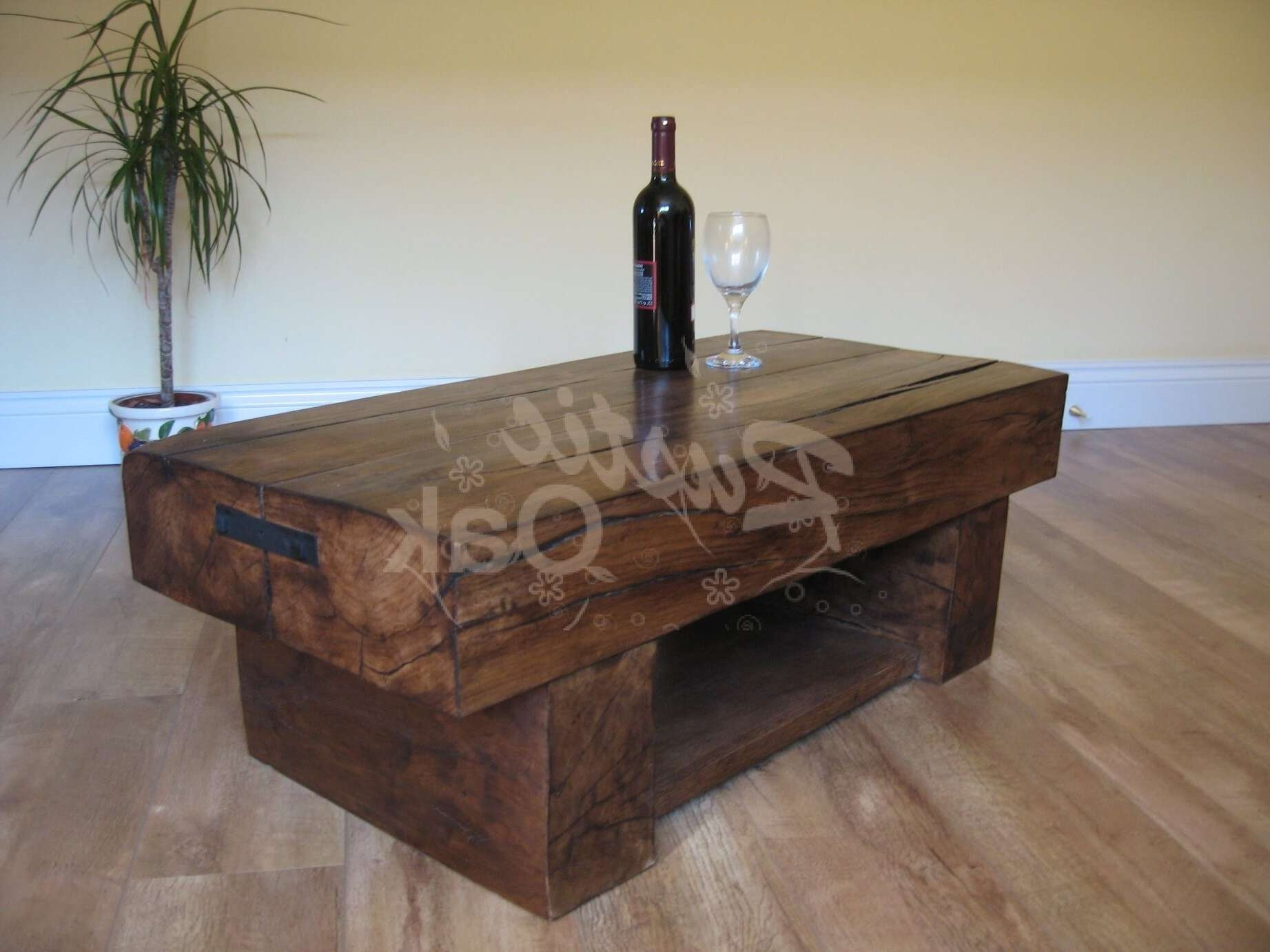 2017 Oak Beam Coffee Tables For 2 Beam Coffee Table With Shelf – Rustic Oak Furniture (View 11 of 20)