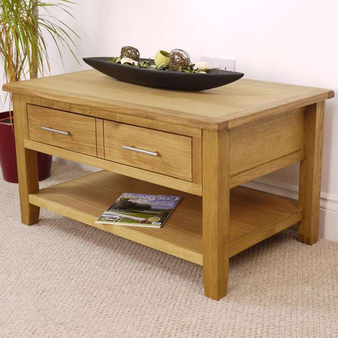 2017 Oak Coffee Table With Drawers Within Nebraska Modern Oak Coffee Table With 1 Large Drawer & Shelf (View 2 of 20)