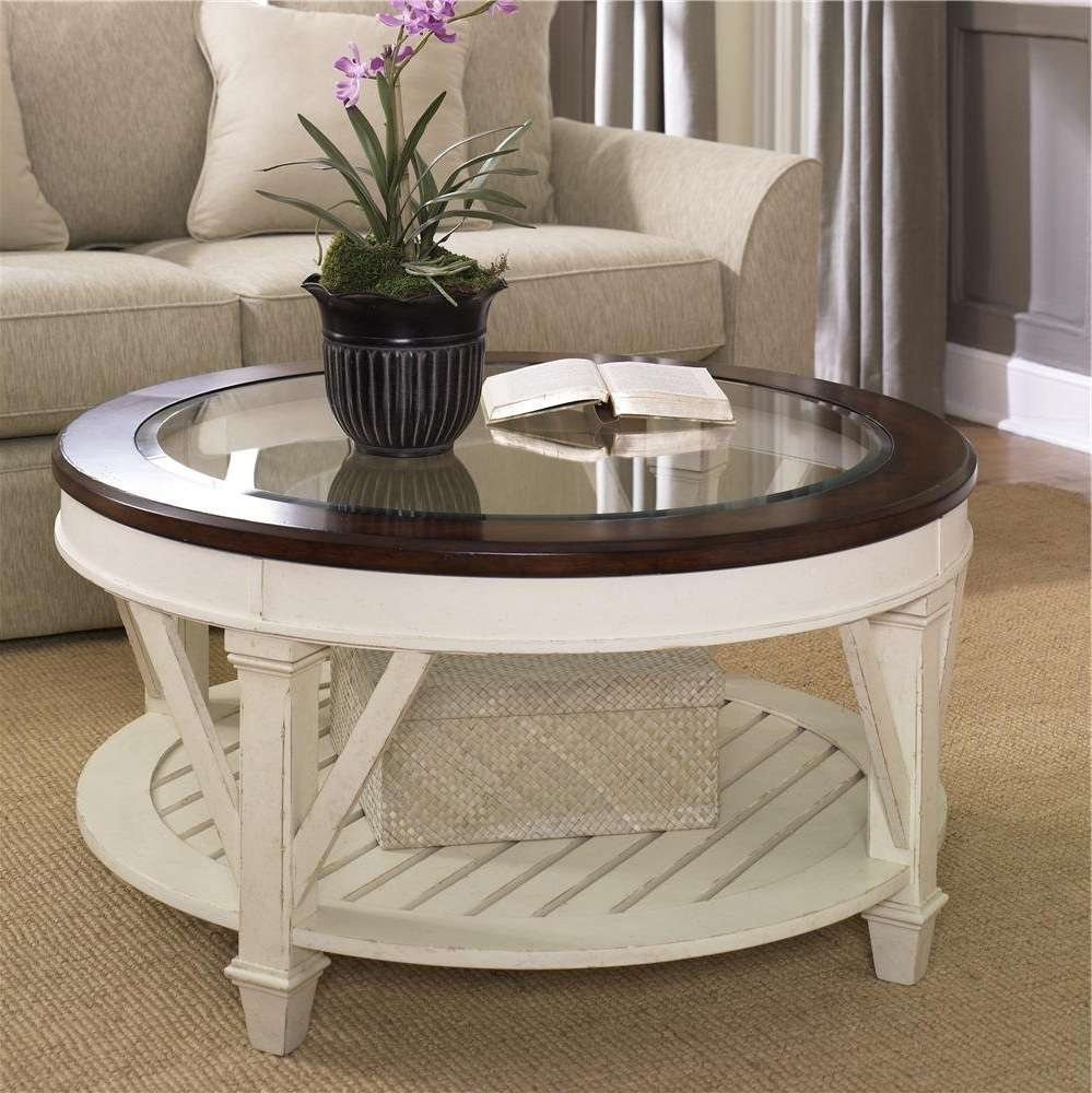 2017 Oversized Round Coffee Tables Pertaining To Cool White Sofa With Oversized Round Coffee Tables Made Of Wooden (View 1 of 20)