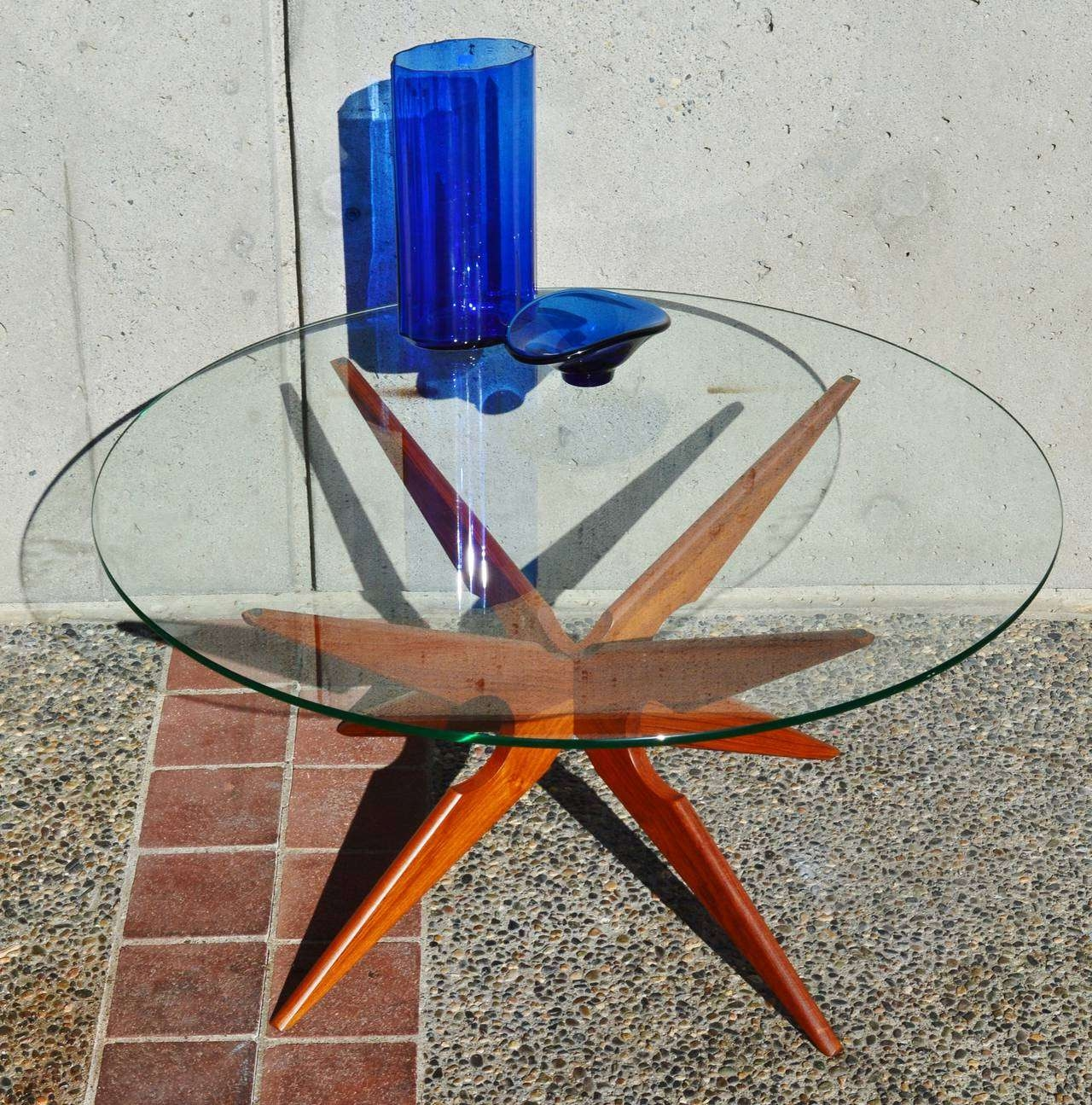2017 Retro Teak Glass Coffee Tables Intended For Danish Teak Spider Leg Coffee Table Round Glass Top (Sike Mobler (View 1 of 20)