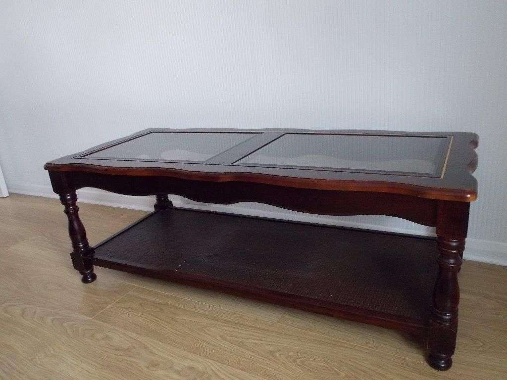 2017 Retro Teak Glass Coffee Tables Intended For Old And Vintage Polished Square Mahogany Coffee Table With Glass (View 20 of 20)
