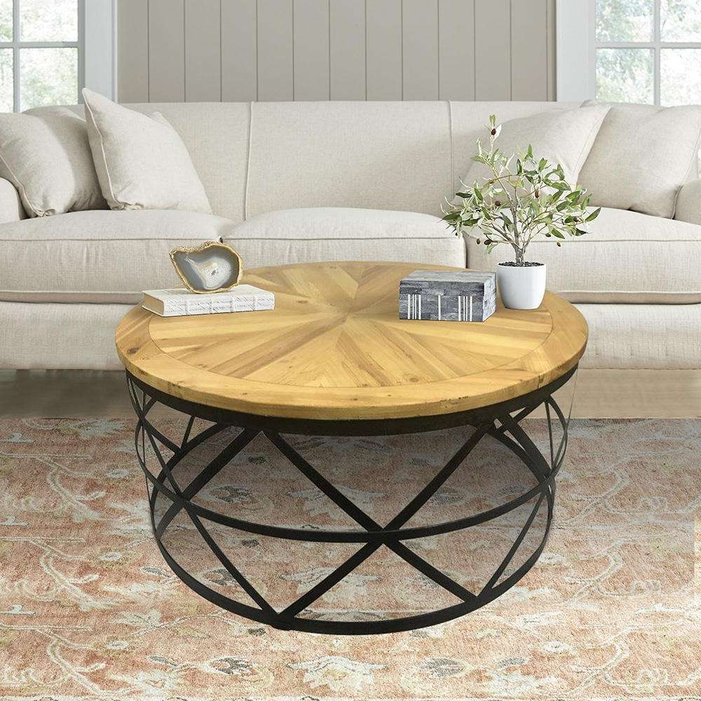 2017 Round Coffee Tables With Regard To Industrial Reclaimed Wood Round Coffee Table Dmt 085 – The Home Depot (View 14 of 20)