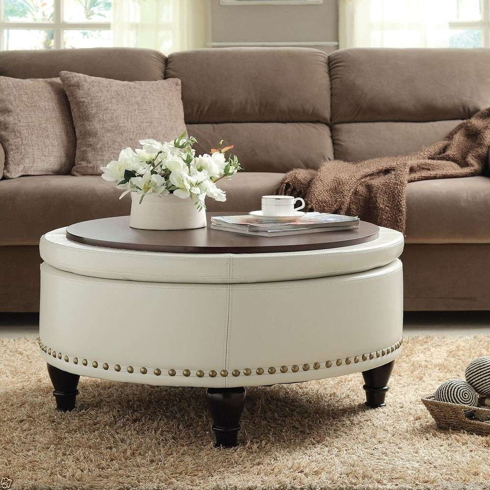2017 Round Upholstered Coffee Tables In Coffee Table: Best Large Upholstered Ottoman Coffee Table Fabric (View 1 of 20)