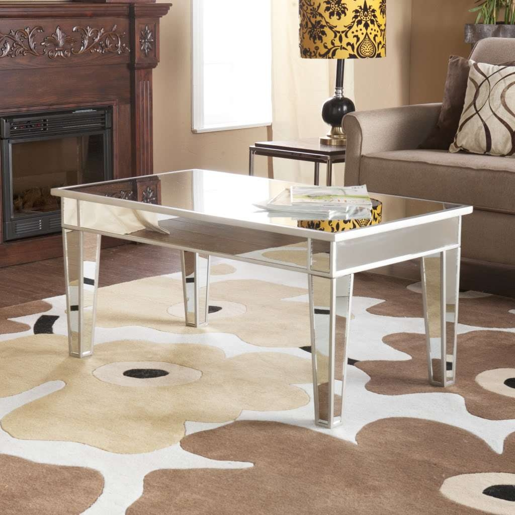 2017 Small Mirrored Coffee Tables Throughout Simple Modern Rectangle Mirrored Coffee Table With Wooden Frame (View 2 of 20)