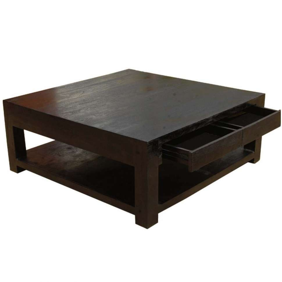 2017 Square Dark Wood Coffee Table Pertaining To Coffee Table : Metal Andod Square Coffee Table Large Dark Solid (View 1 of 20)