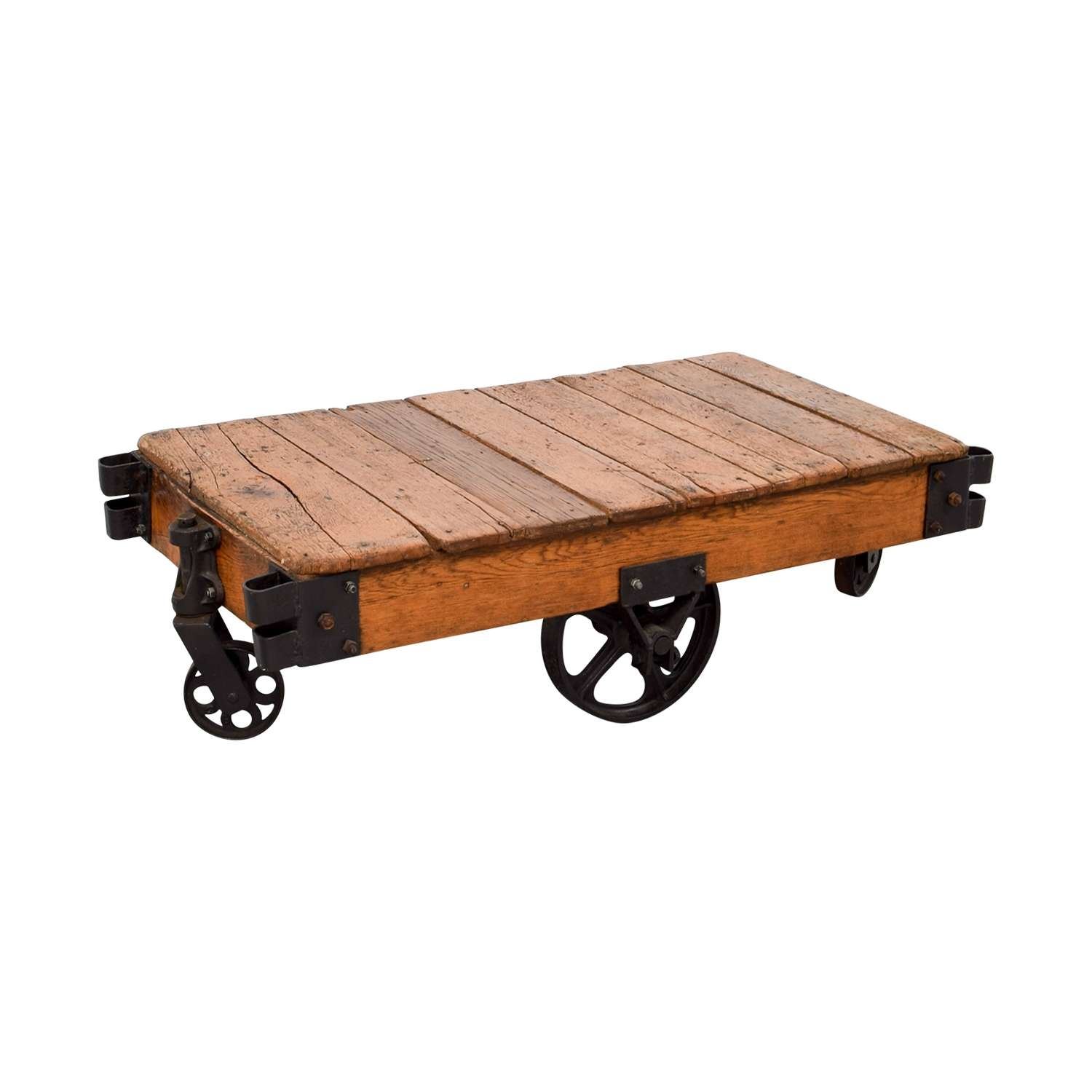 [%2017 Wheels Coffee Tables Pertaining To 49% Off – Restoration Hardware Restoration Hardware Rustic Coffee|49% Off – Restoration Hardware Restoration Hardware Rustic Coffee Intended For Newest Wheels Coffee Tables%] (View 1 of 20)