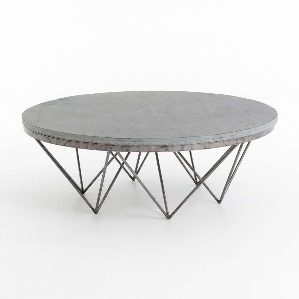 2017 White Circle Coffee Tables For Coffee Tables : Fascinating Rustic Steel White Round Coffee Table (View 3 of 20)