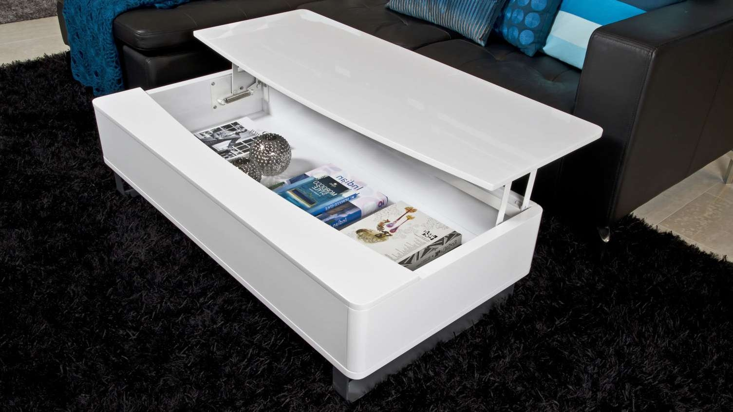 2017 White Coffee Tables With Storage In Modern White Gloss Coffee Table With Large Storage Space White (View 1 of 20)