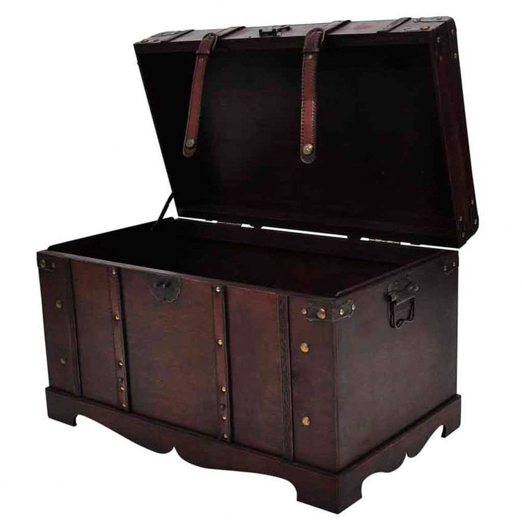 2018 Coffee Tables With Box Storage In Wooden Treasure Chest Box Storage Cabinet Vintage Pirate Coffee (View 8 of 20)