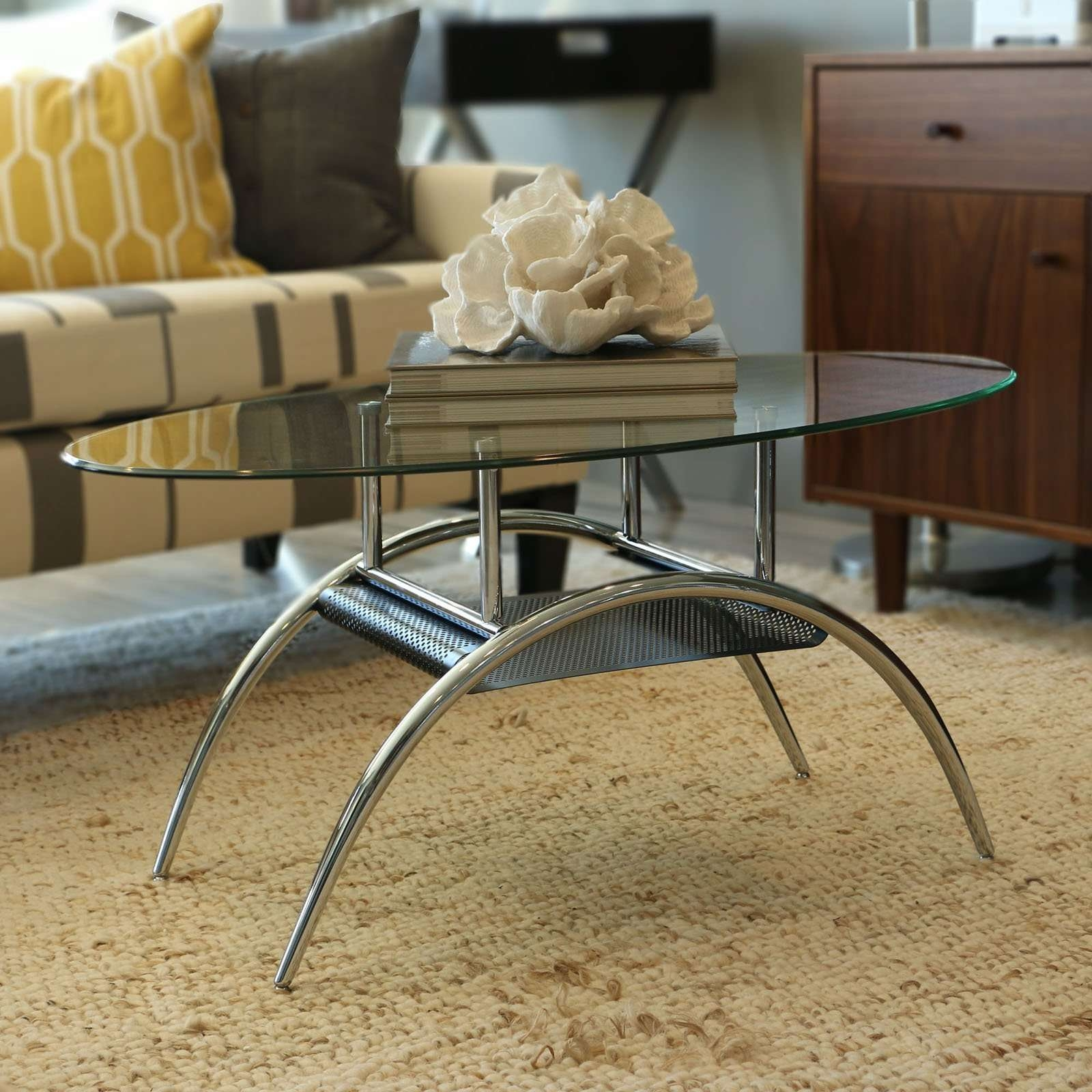2018 Coffee Tables With Oval Shape With Regard To Walker Edison Oval Glass Coffee Table With Black Mesh Shelf (View 3 of 20)