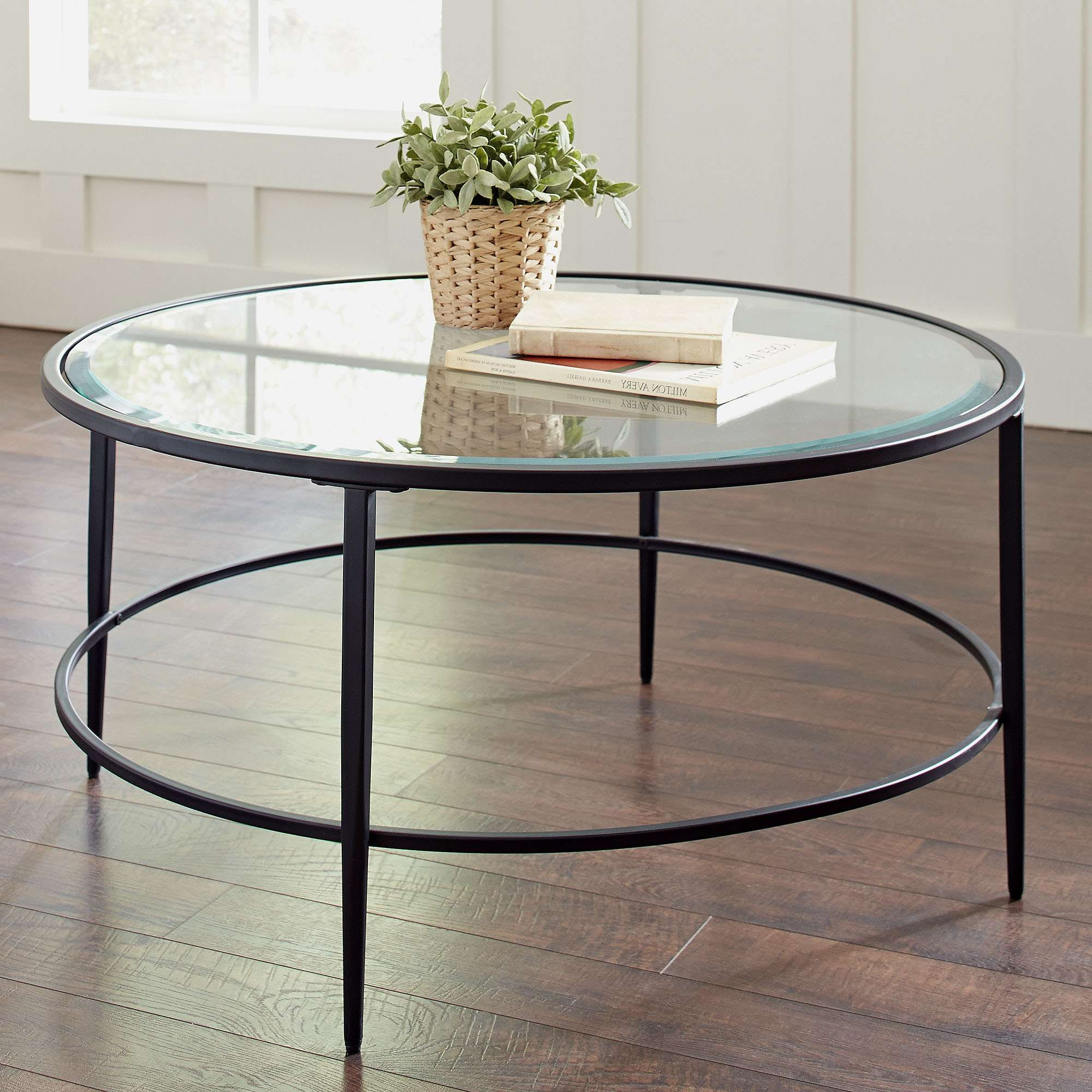 2018 Glass Coffee Table With Shelf Within Coffee Table : Magnificent Black Modern Coffee Table Modern Glass (View 4 of 20)