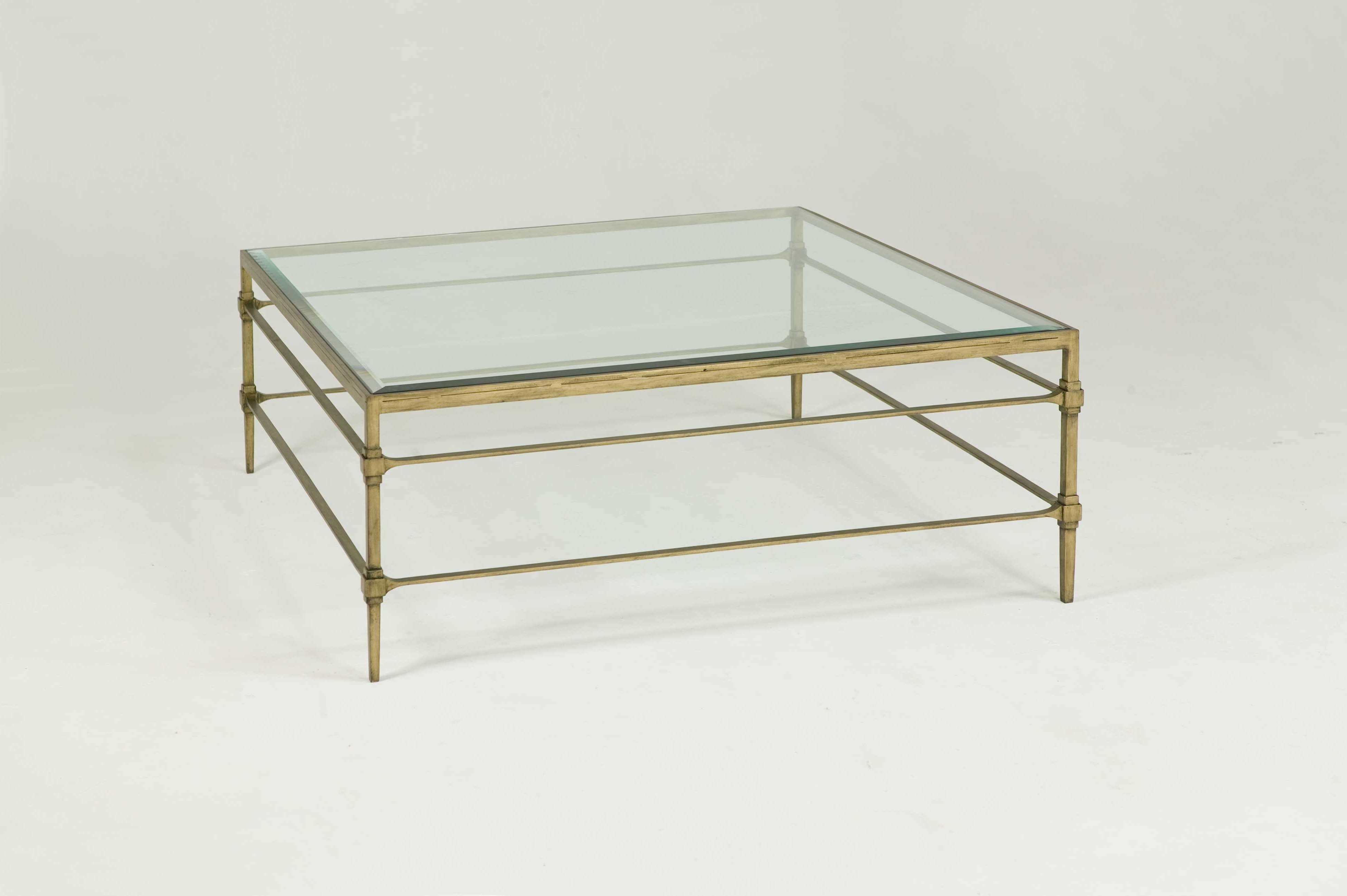 2018 Large Square Glass Coffee Tables Regarding Decorations : Modern Glass Coffee Table With Gold Stailess Awesome (View 4 of 20)