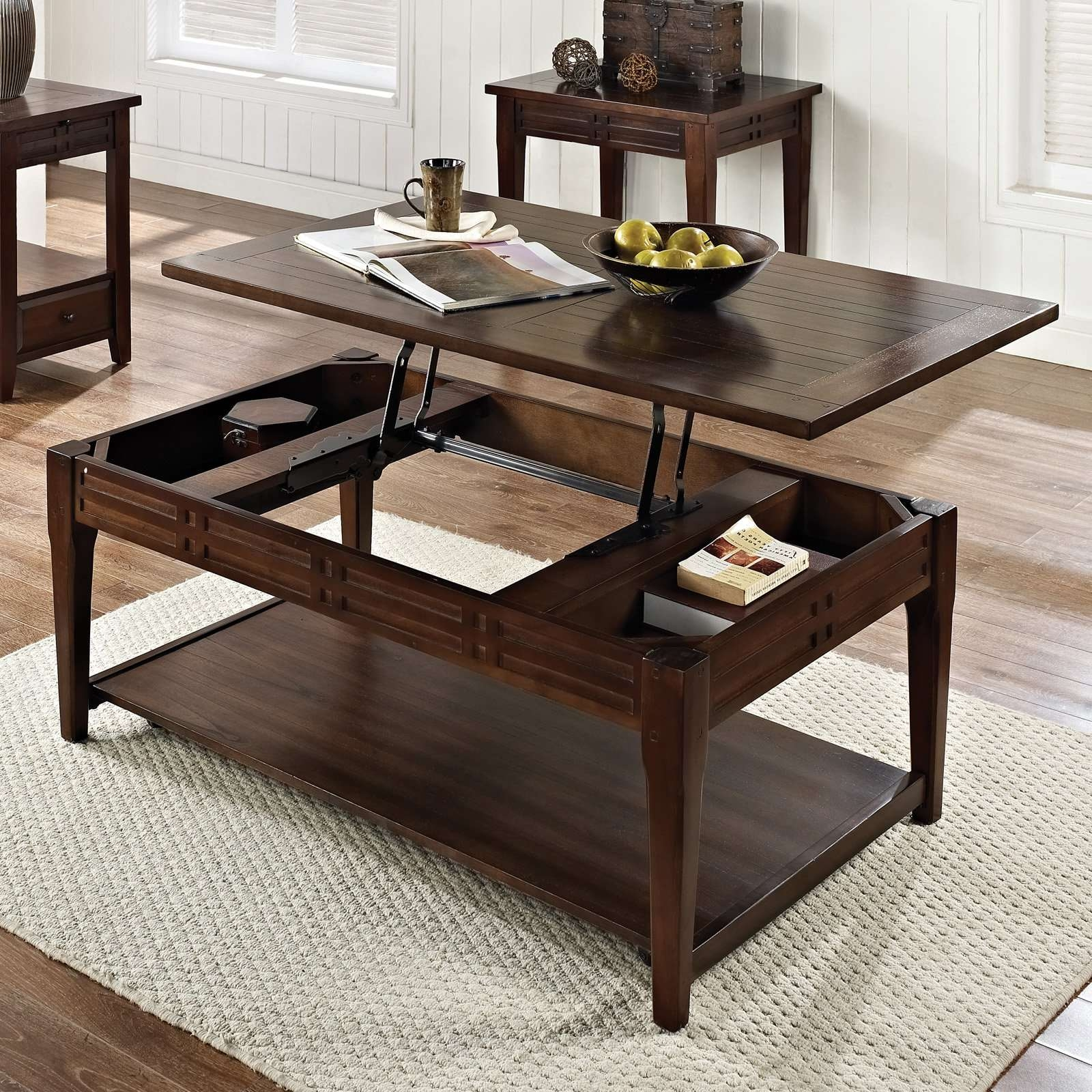 2018 Lift Top Oak Coffee Tables With Regard To Steve Silver Crestline Rectangle Distressed Walnut Wood Lift Top (View 20 of 20)