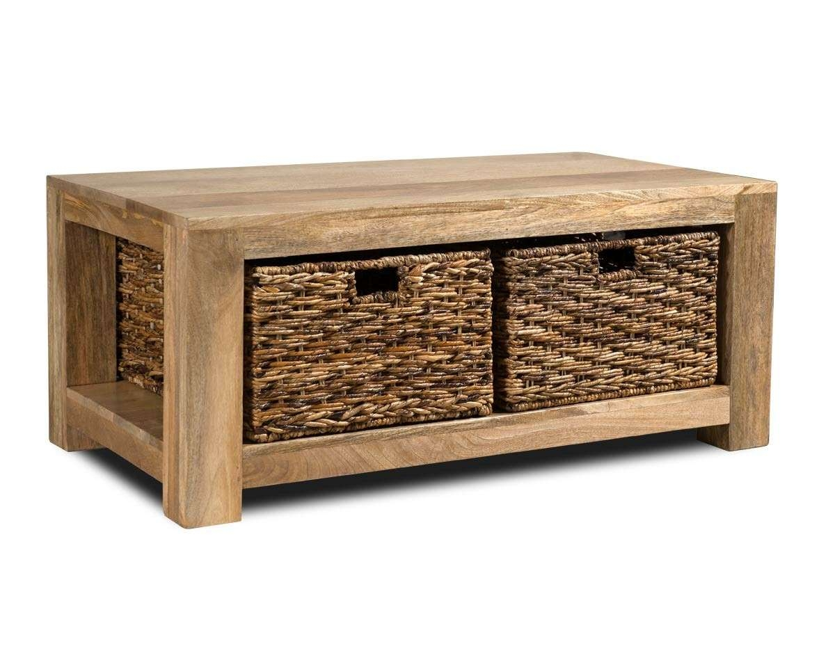 2018 Mango Wood Coffee Tables Inside Dakota Light Mango Large Coffee Table With Baskets (View 2 of 20)