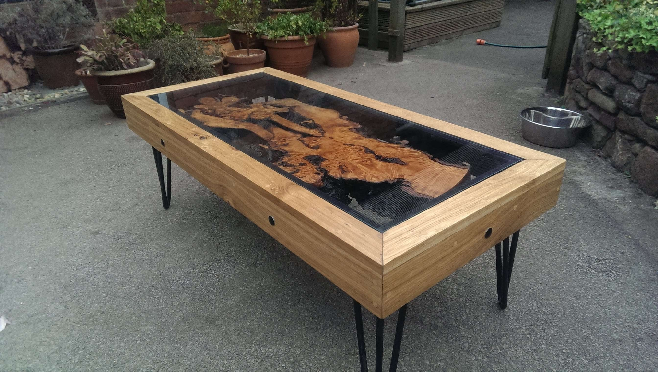 2018 Oak And Glass Coffee Table Inside Tree Root, Oak And Glass Coffee Table: Reborn From Disaster (View 1 of 20)