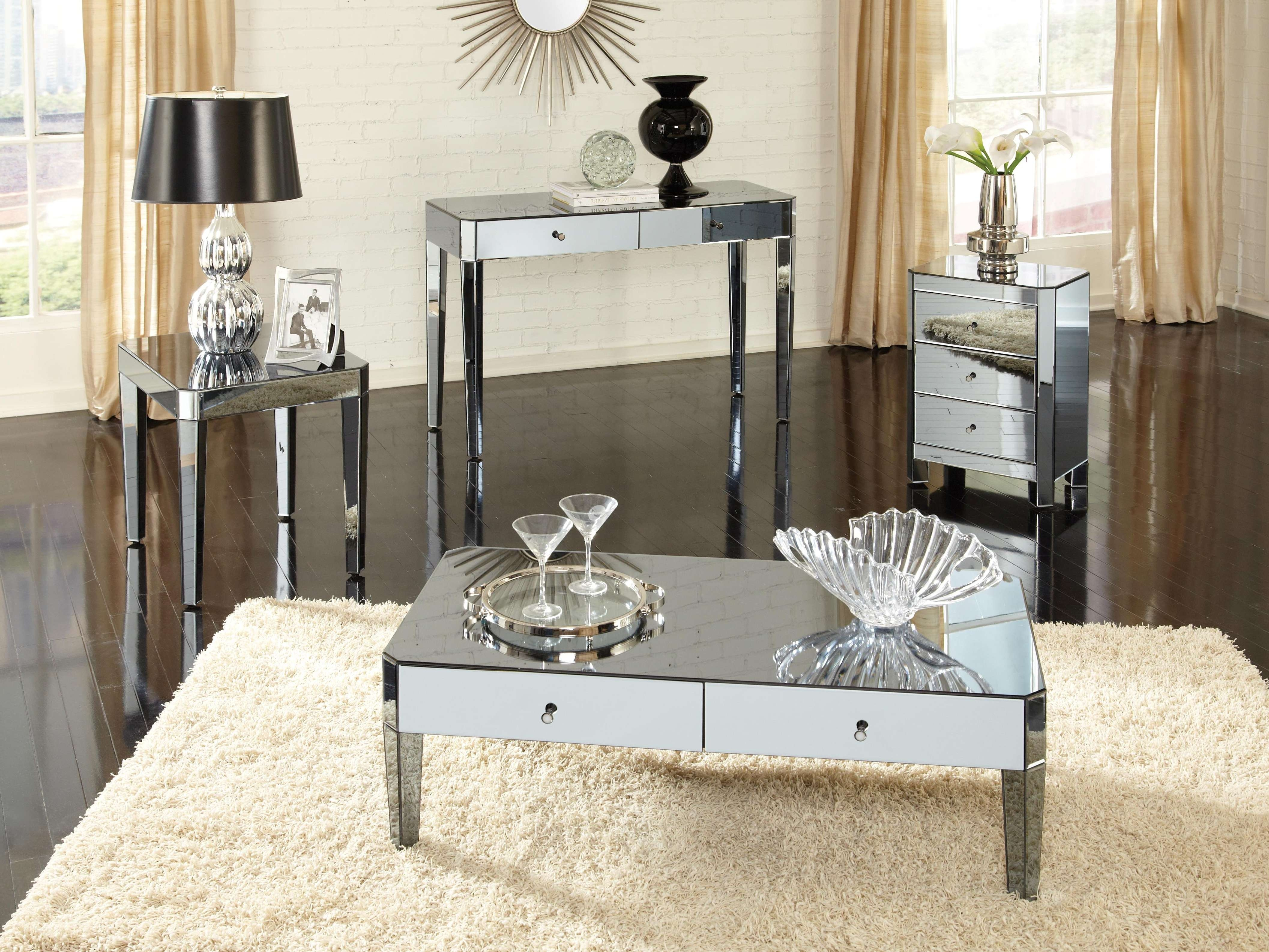 2018 Oval Mirrored Coffee Tables With Coffee Tables : Gold Mirrored Coffee Table Uttermost Henzler On (View 1 of 20)