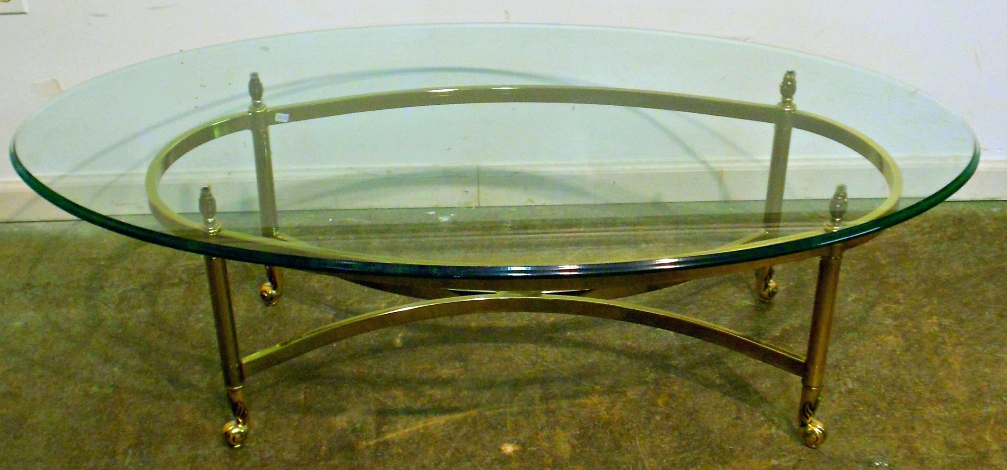 2018 Oval Shaped Glass Coffee Tables For Coffee Tables : Australia Brass And Glass Oval Coffee Table Small (View 1 of 20)