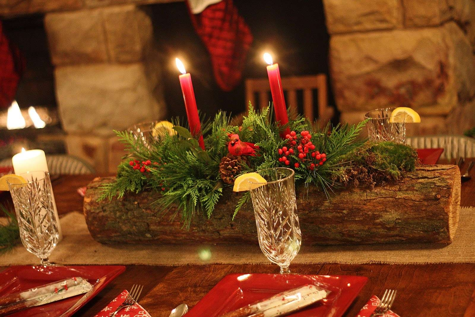 2018 Rustic Christmas Coffee Table Decors In Christmas Table Centerpiece Rustic Dining Table Decor Red Candle (View 1 of 20)