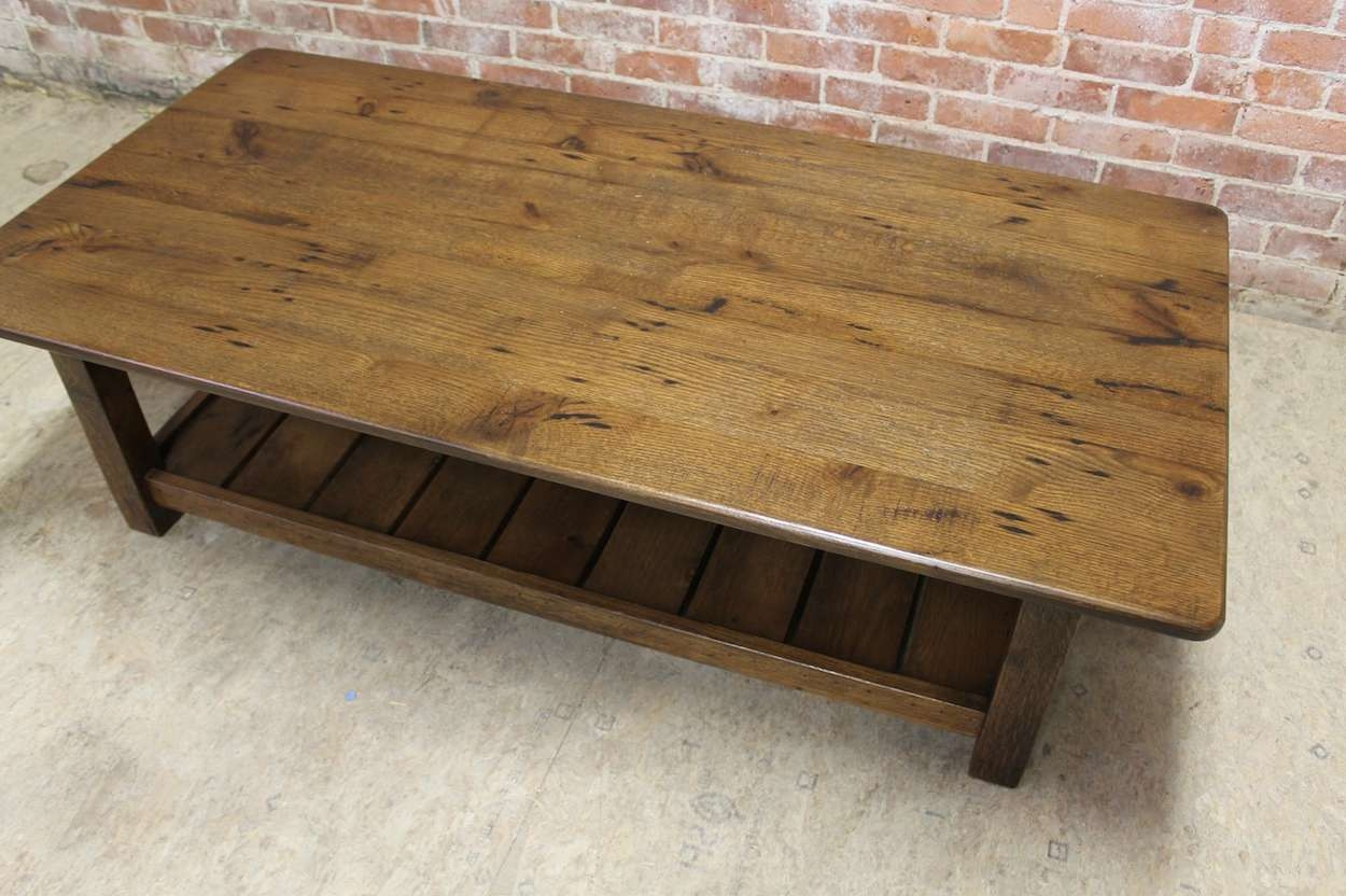 2018 Rustic Oak Coffee Tables Pertaining To Rustic Coffee Table With Slatted Shelf Design – Ecustomfinishes (View 14 of 20)