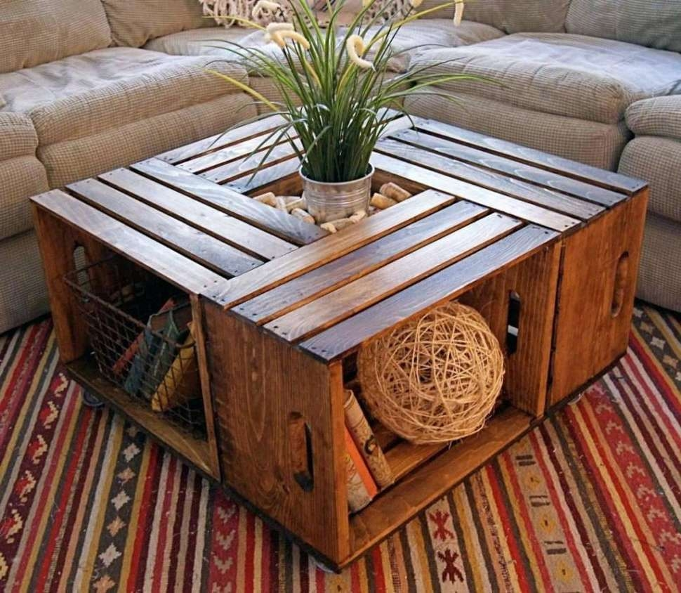 2018 Rustic Wood Diy Coffee Tables Pertaining To Coffee Tables : Diy Square Coffee Table Plans Homemade Tables (View 2 of 20)