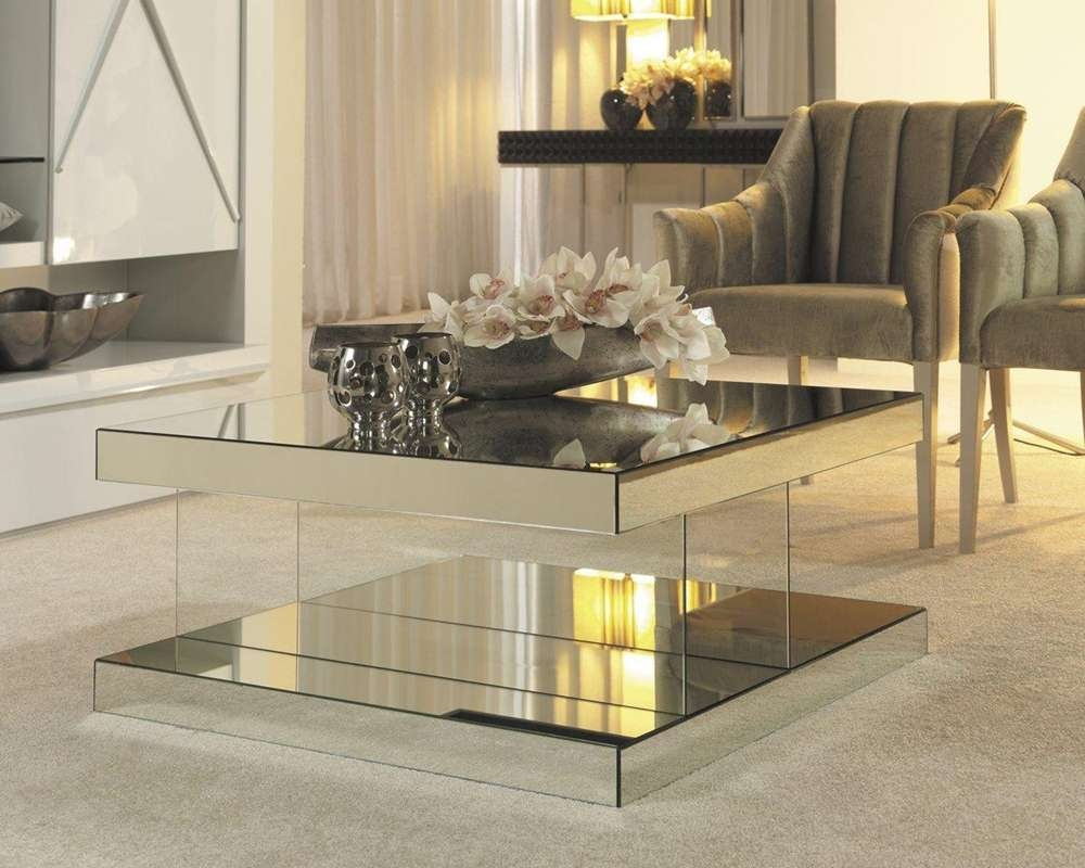 2018 Small Mirrored Coffee Tables Within Square Mirrored Coffee Table — Cabinets, Beds, Sofas And (View 2 of 20)
