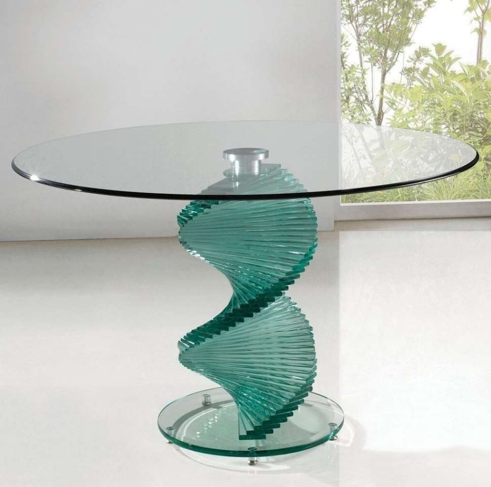 2018 Spiral Glass Coffee Table Inside Dining Tables : Contemporary Round Glass Dining Table With Spiral (View 1 of 20)