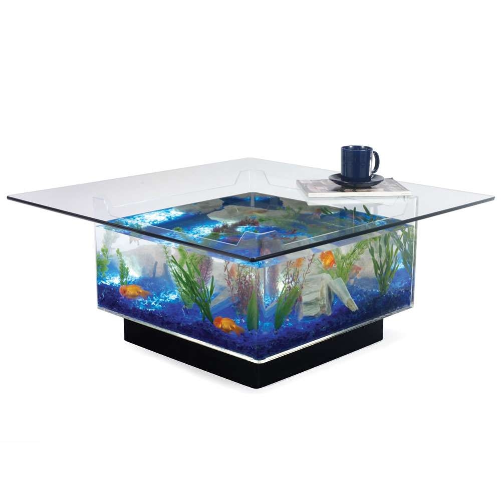2018 Unusual Glass Coffee Tables Inside Furniture : Square Aquarium Coffee Table With Glass Top Unusual (View 1 of 20)