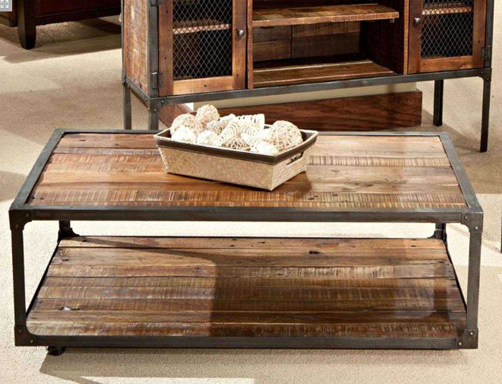 2018 Wood And Steel Coffee Table With Decorations : Moti Furniture Addison Reclaimed Wood And Metal (View 12 of 20)