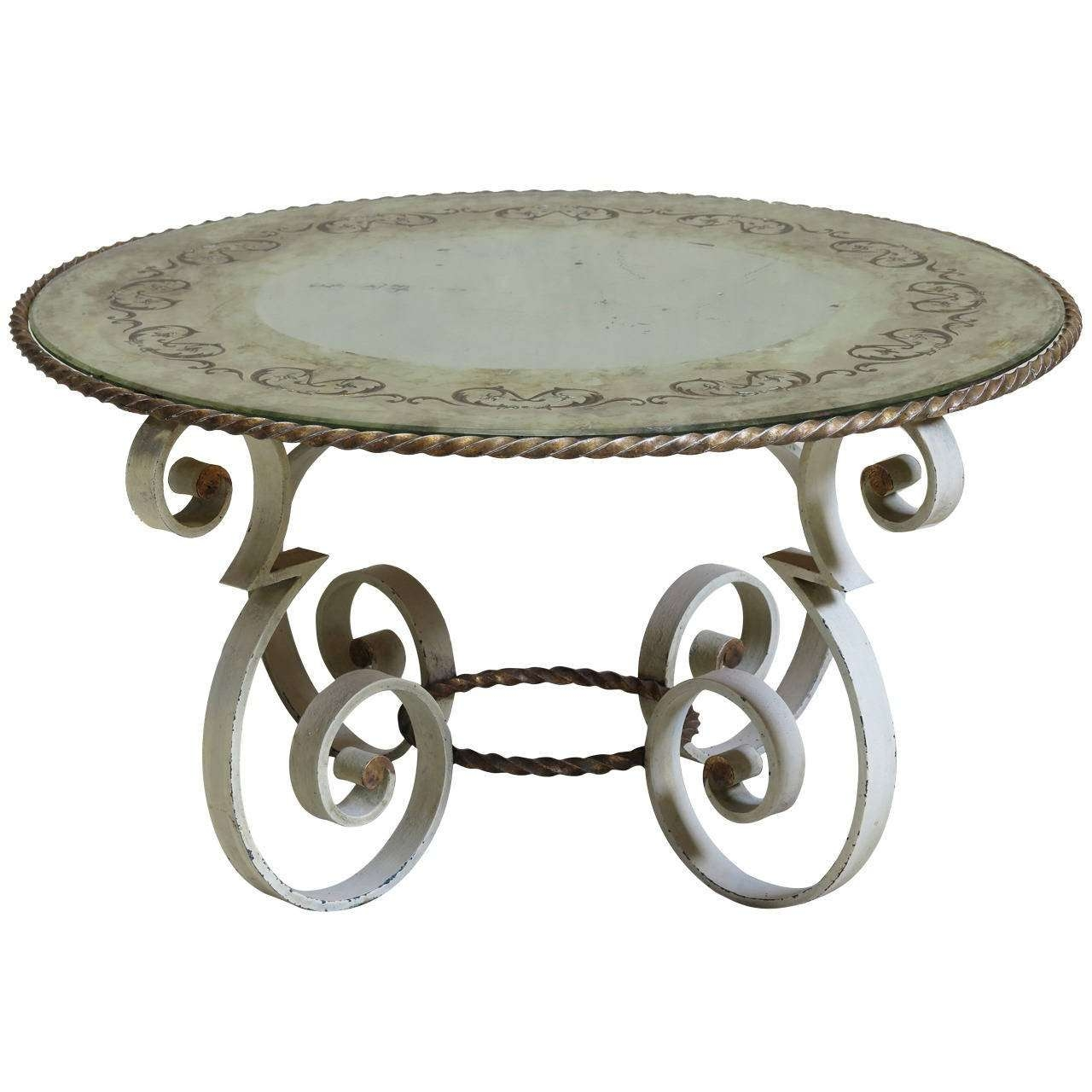 2018 Wrought Iron Coffee Tables Regarding Wrought Iron Coffee Table With Eglomisé Mirror Top, France 1940S (View 1 of 20)