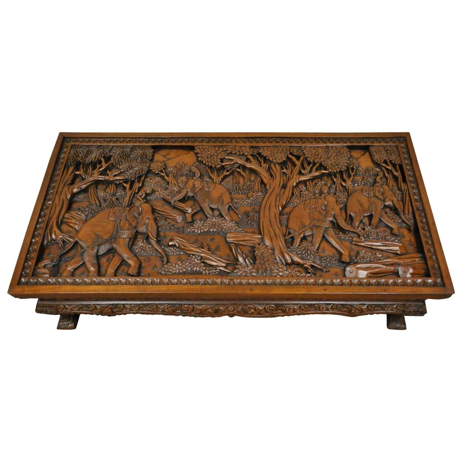 20Th Century Vietnamese Hand Carved Asian Coffee Low Table With For Best And Newest Elephant Glass Top Coffee Tables (View 3 of 20)