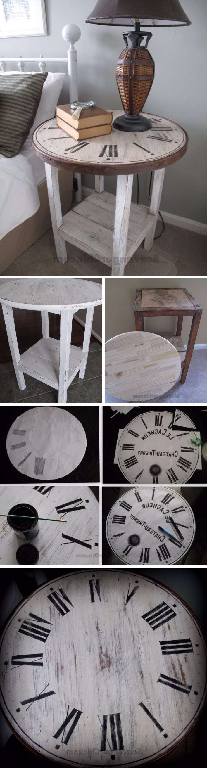 25 Diy Side Table Ideas With Lots Of Tutorials 2017 Throughout Trendy Clock Coffee Tables Round Shaped (View 20 of 20)