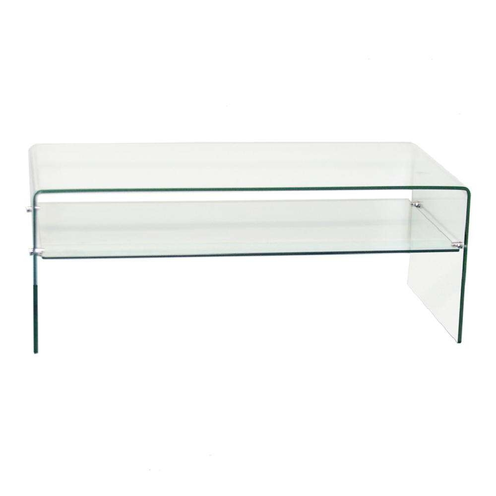 3/8 In. Thick Clear Bent Glass Coffee Table With Shelf Xct321 Inside Well Known Thick Glass Coffee Table (Gallery 16 of 20)