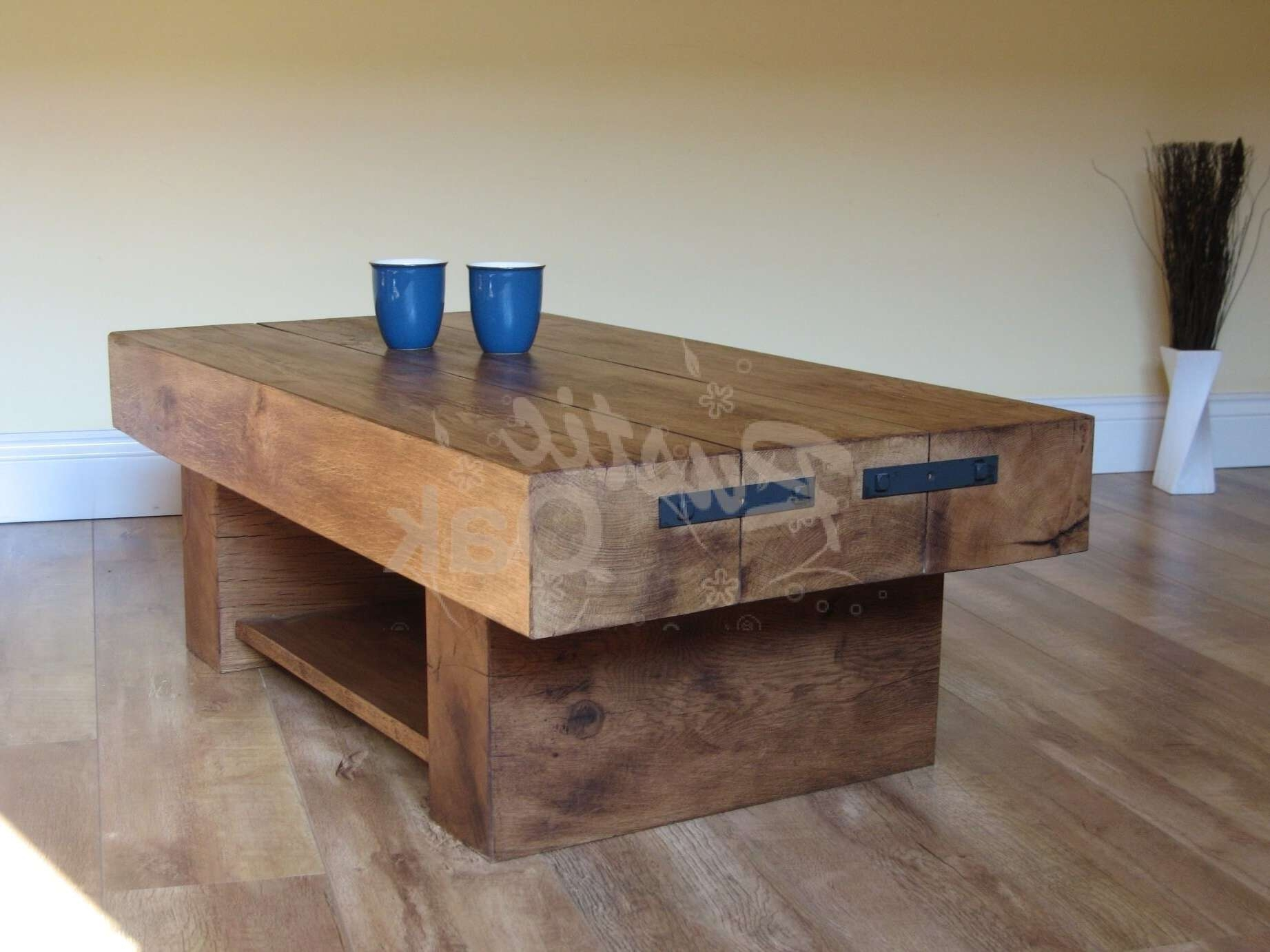 3 Beam Coffee Table With Shelf – Rustic Oak With Preferred Oak Beam Coffee Tables (View 14 of 20)