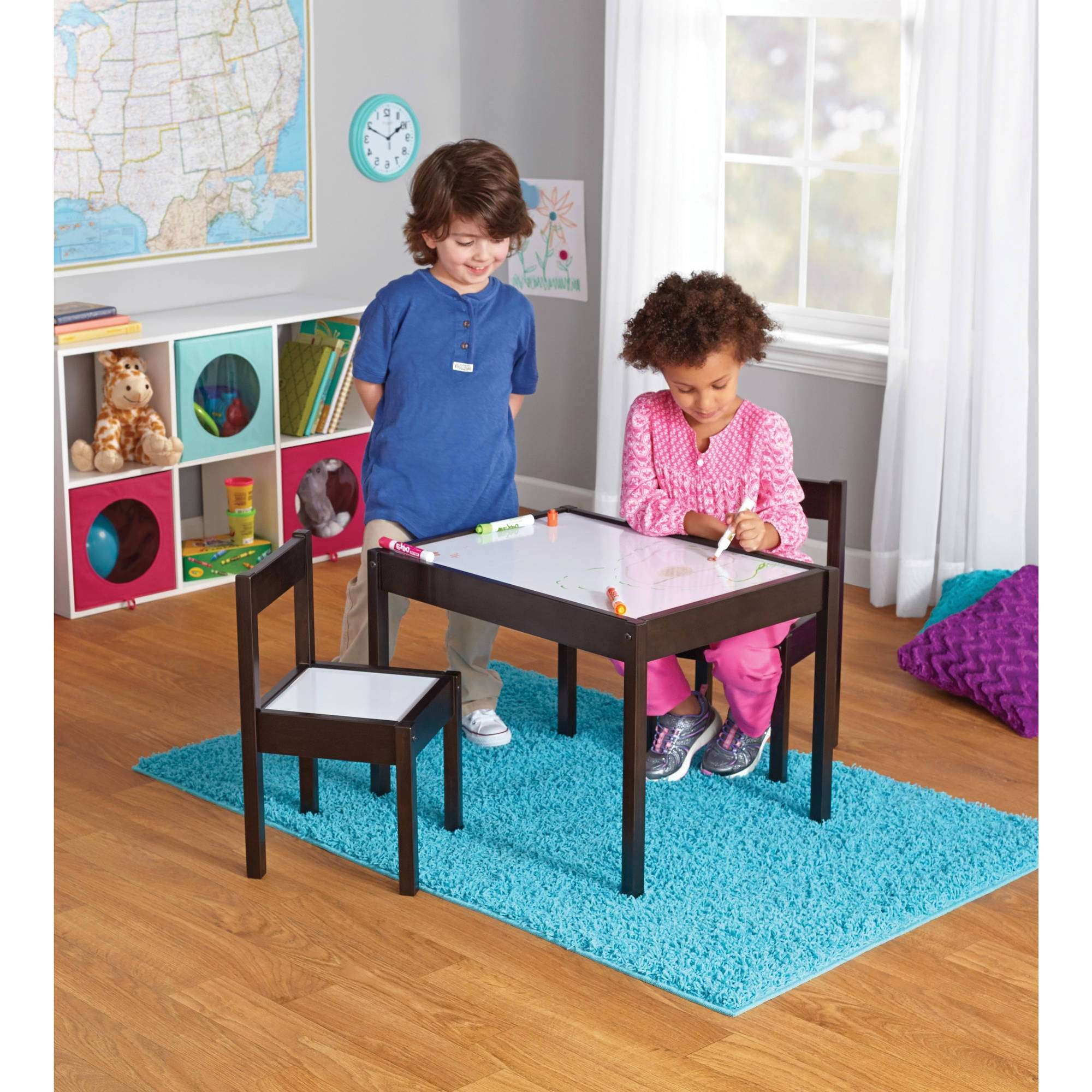 3 Piece Children's Table And Chairs, Espresso – Walmart Intended For Preferred Kids Coffee Tables (View 8 of 20)
