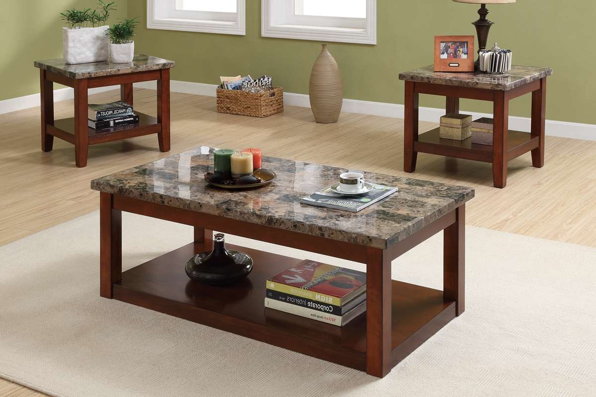 3 Piece Coffee Table Set, Cherry Wood Finish, Granite Veneer Top Pertaining To Favorite Cherry Wood Coffee Table Sets (View 1 of 20)